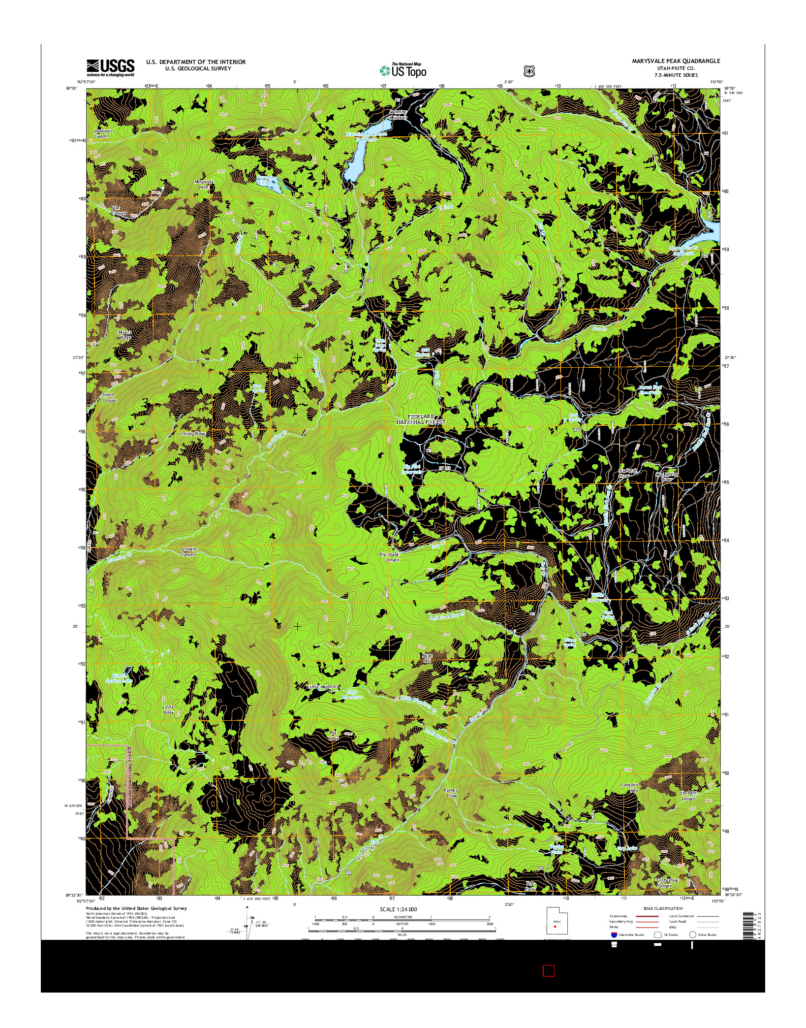 USGS US TOPO 7.5-MINUTE MAP FOR MARYSVALE PEAK, UT 2014
