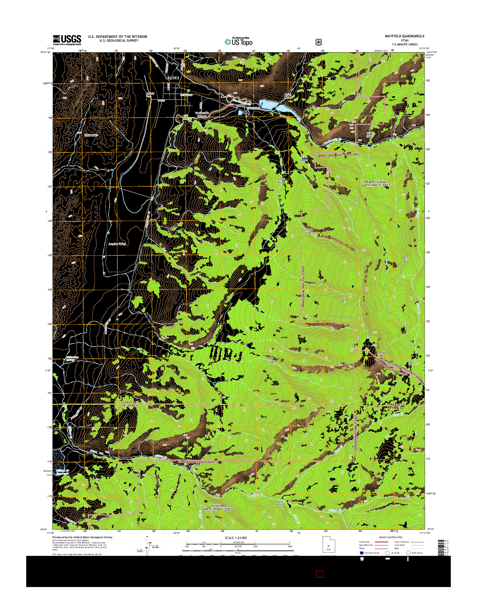 USGS US TOPO 7.5-MINUTE MAP FOR MAYFIELD, UT 2014