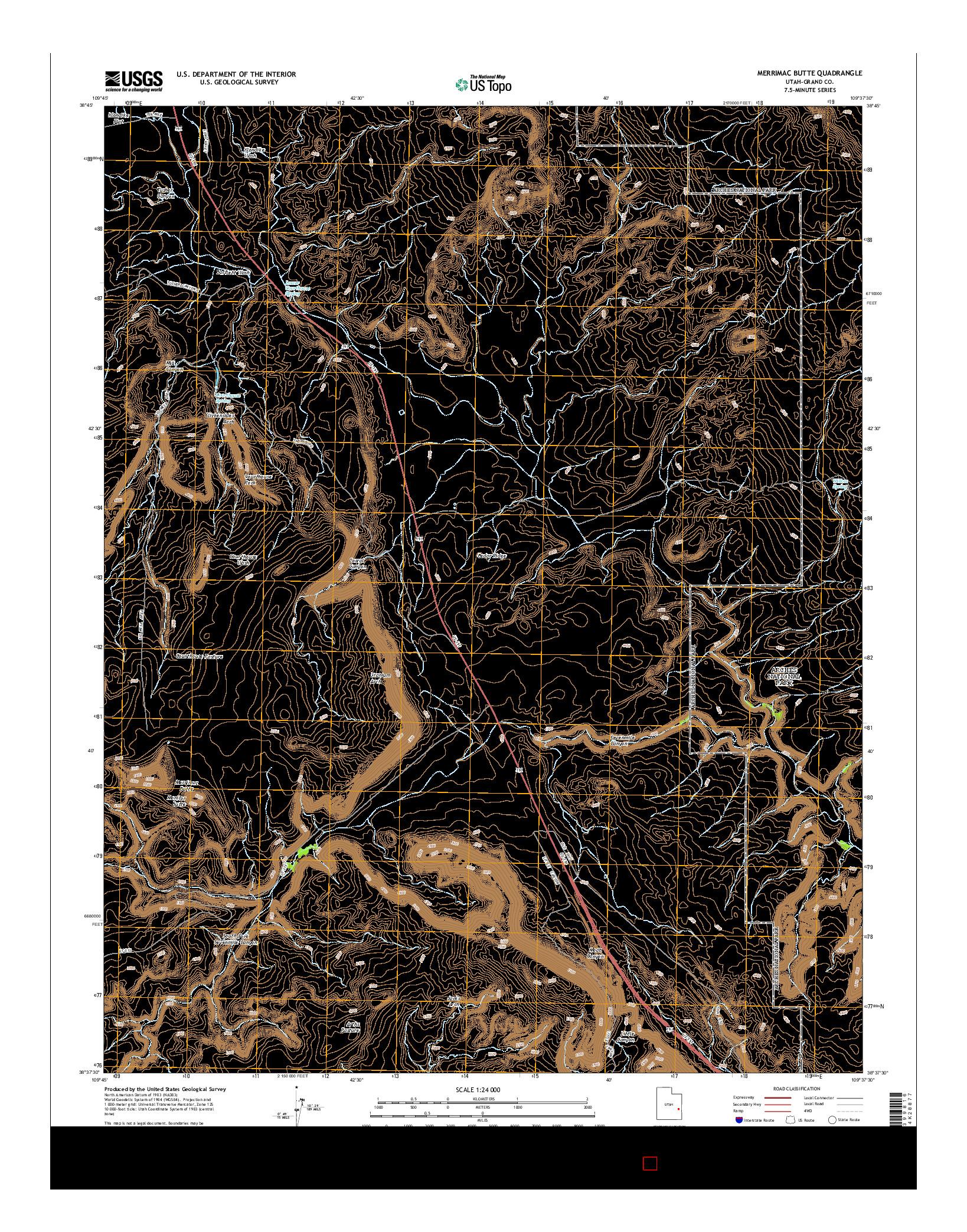 USGS US TOPO 7.5-MINUTE MAP FOR MERRIMAC BUTTE, UT 2014
