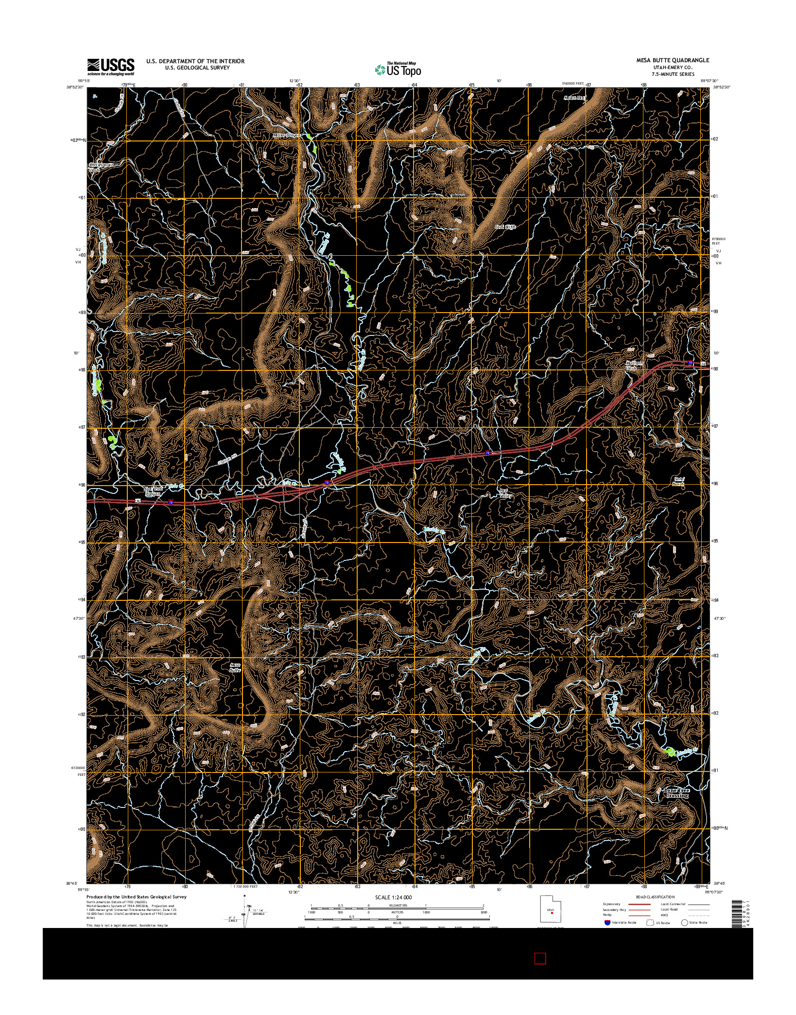 USGS US TOPO 7.5-MINUTE MAP FOR MESA BUTTE, UT 2014