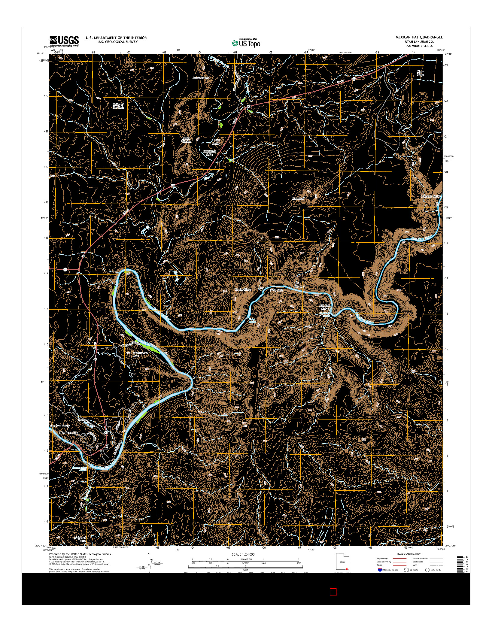 USGS US TOPO 7.5-MINUTE MAP FOR MEXICAN HAT, UT 2014
