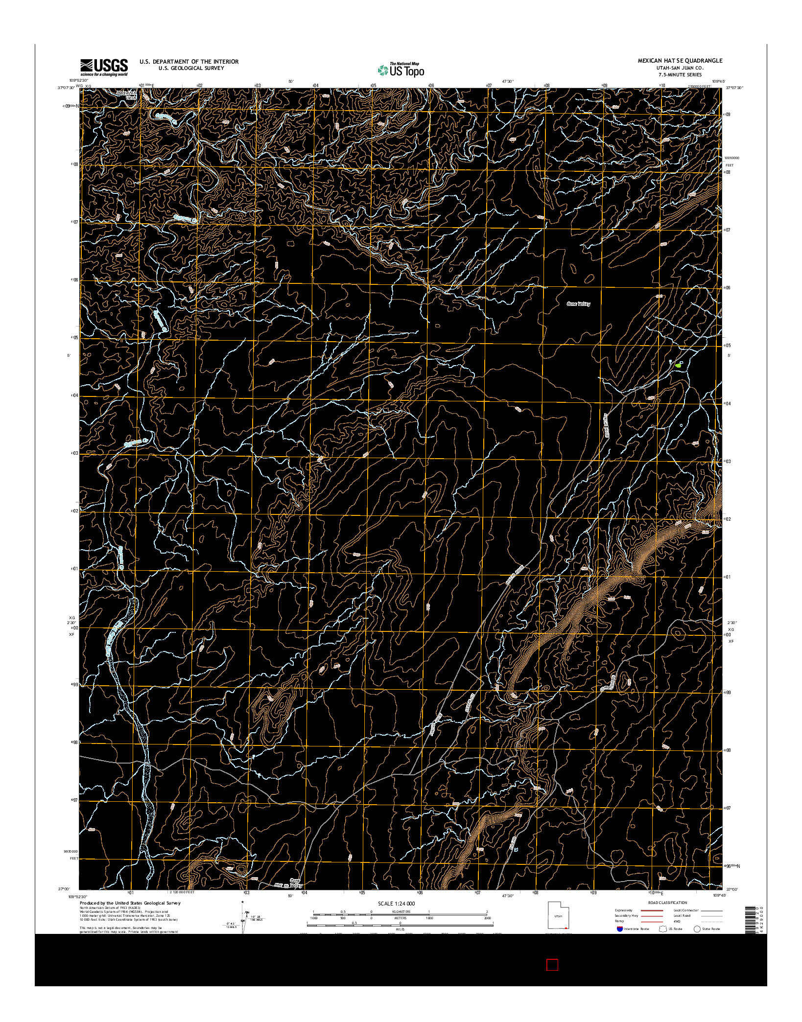USGS US TOPO 7.5-MINUTE MAP FOR MEXICAN HAT SE, UT 2014