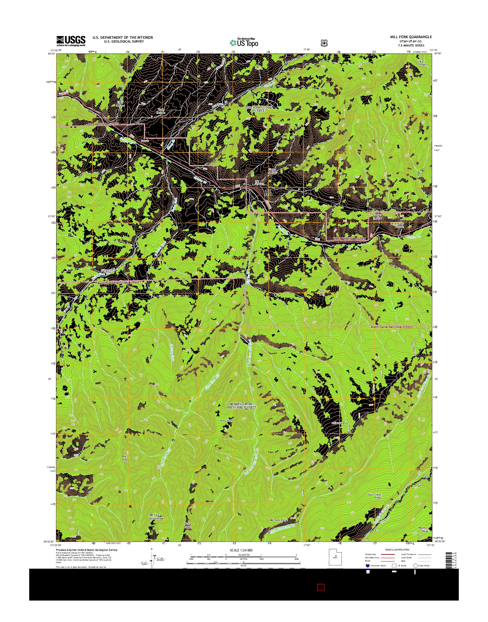 USGS US TOPO 7.5-MINUTE MAP FOR MILL FORK, UT 2014