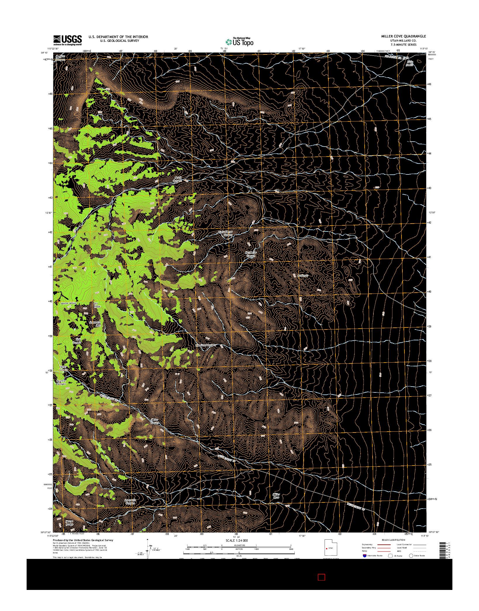 USGS US TOPO 7.5-MINUTE MAP FOR MILLER COVE, UT 2014