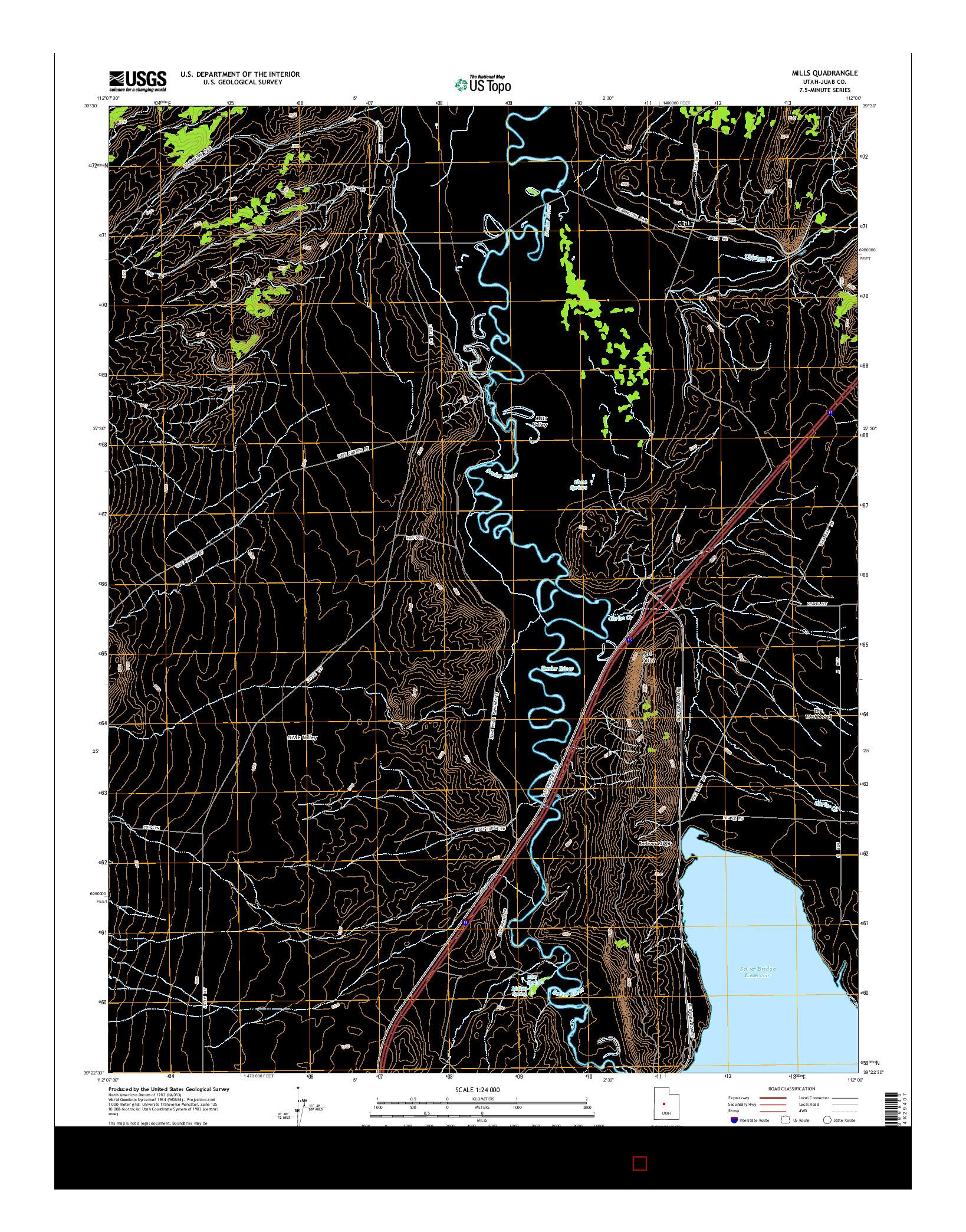 USGS US TOPO 7.5-MINUTE MAP FOR MILLS, UT 2014