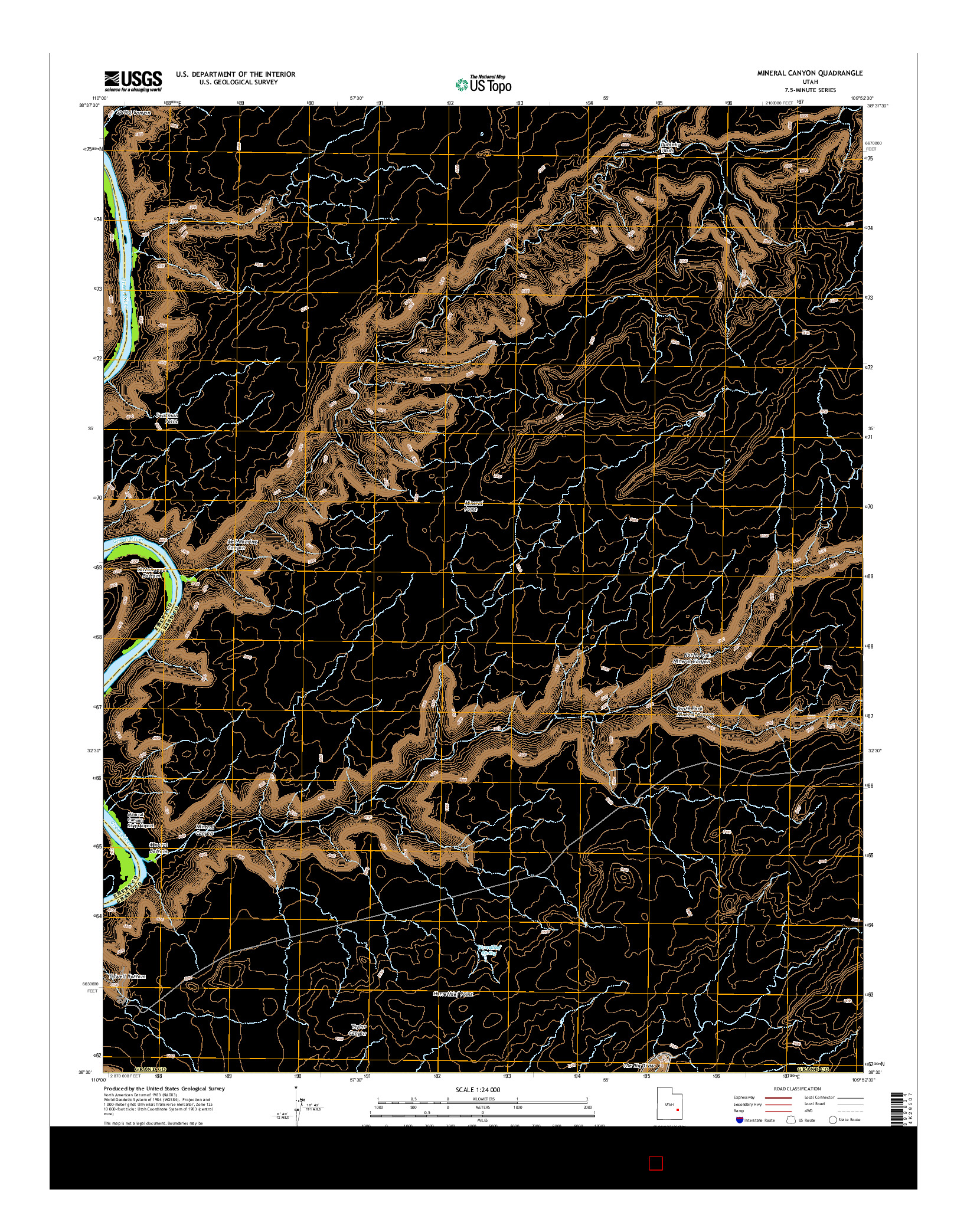 USGS US TOPO 7.5-MINUTE MAP FOR MINERAL CANYON, UT 2014