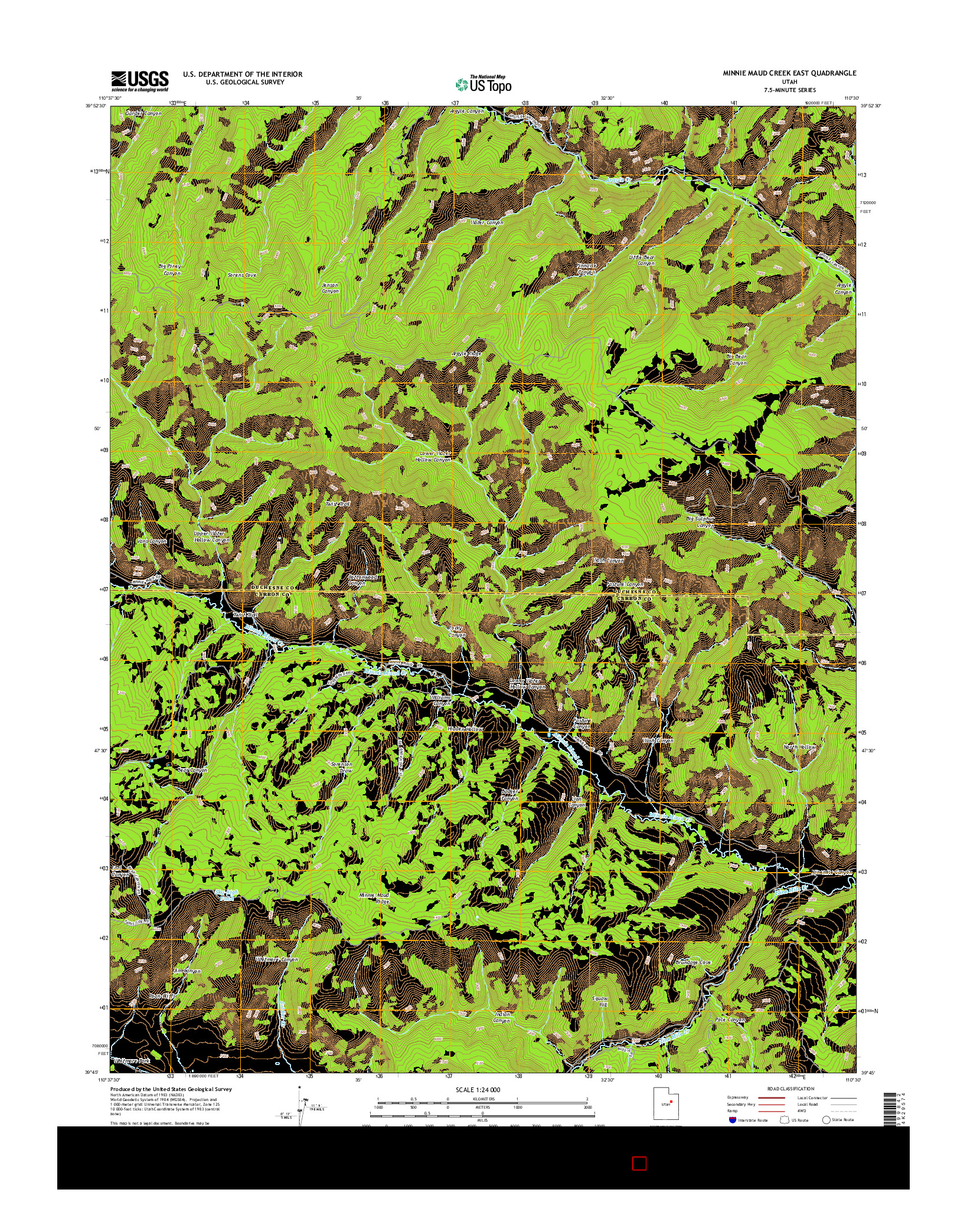 USGS US TOPO 7.5-MINUTE MAP FOR MINNIE MAUD CREEK EAST, UT 2014