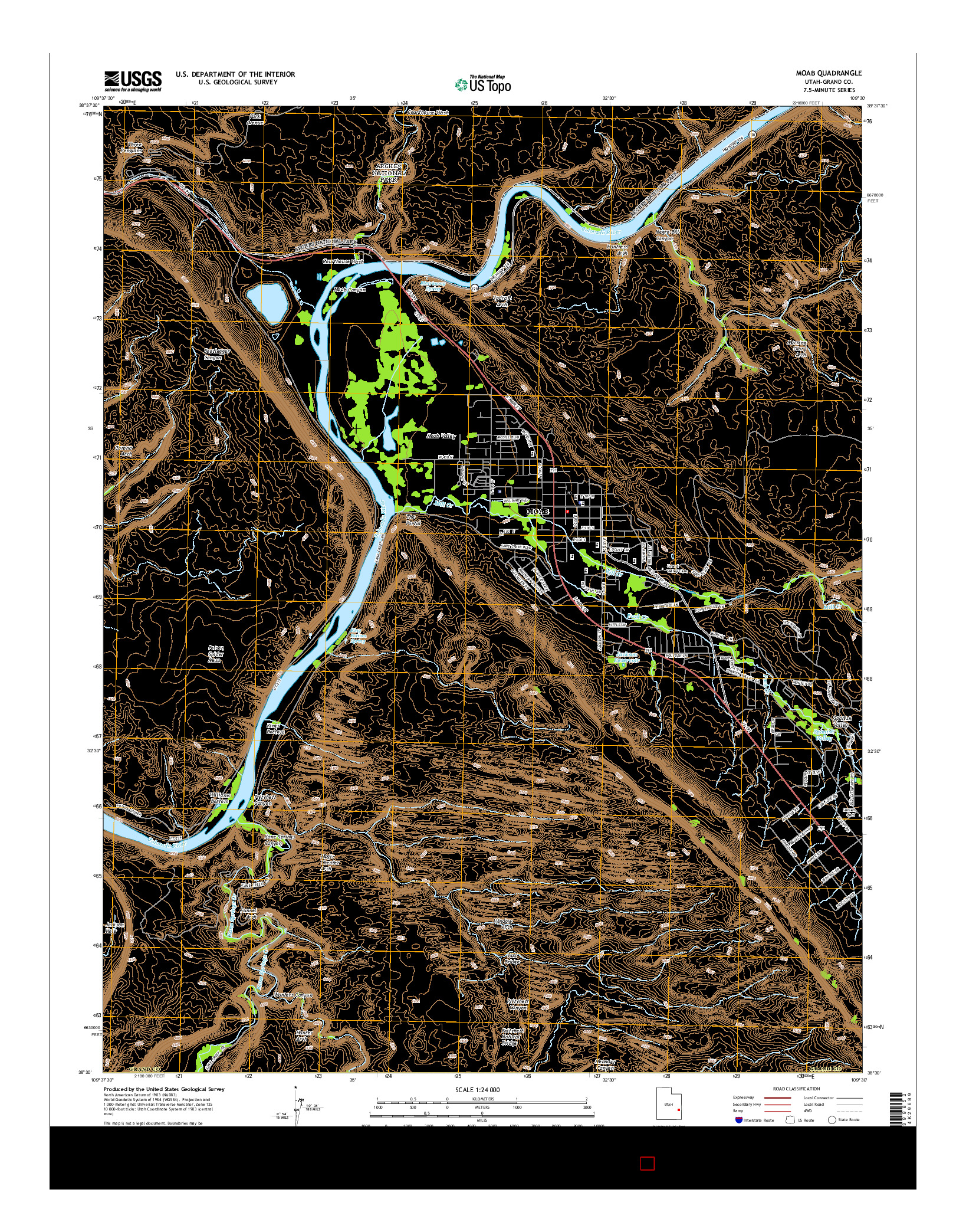 USGS US TOPO 7.5-MINUTE MAP FOR MOAB, UT 2014