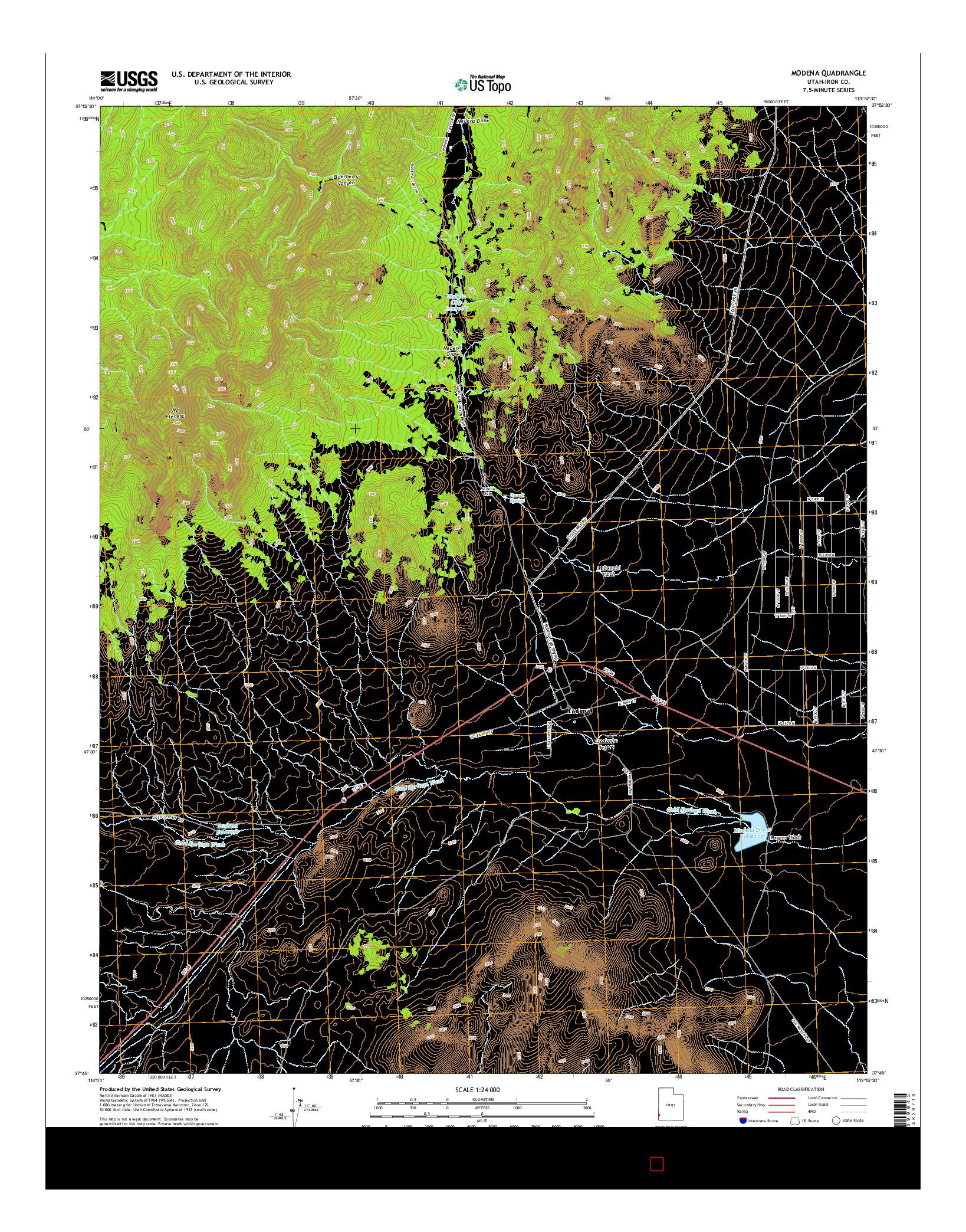 USGS US TOPO 7.5-MINUTE MAP FOR MODENA, UT 2014