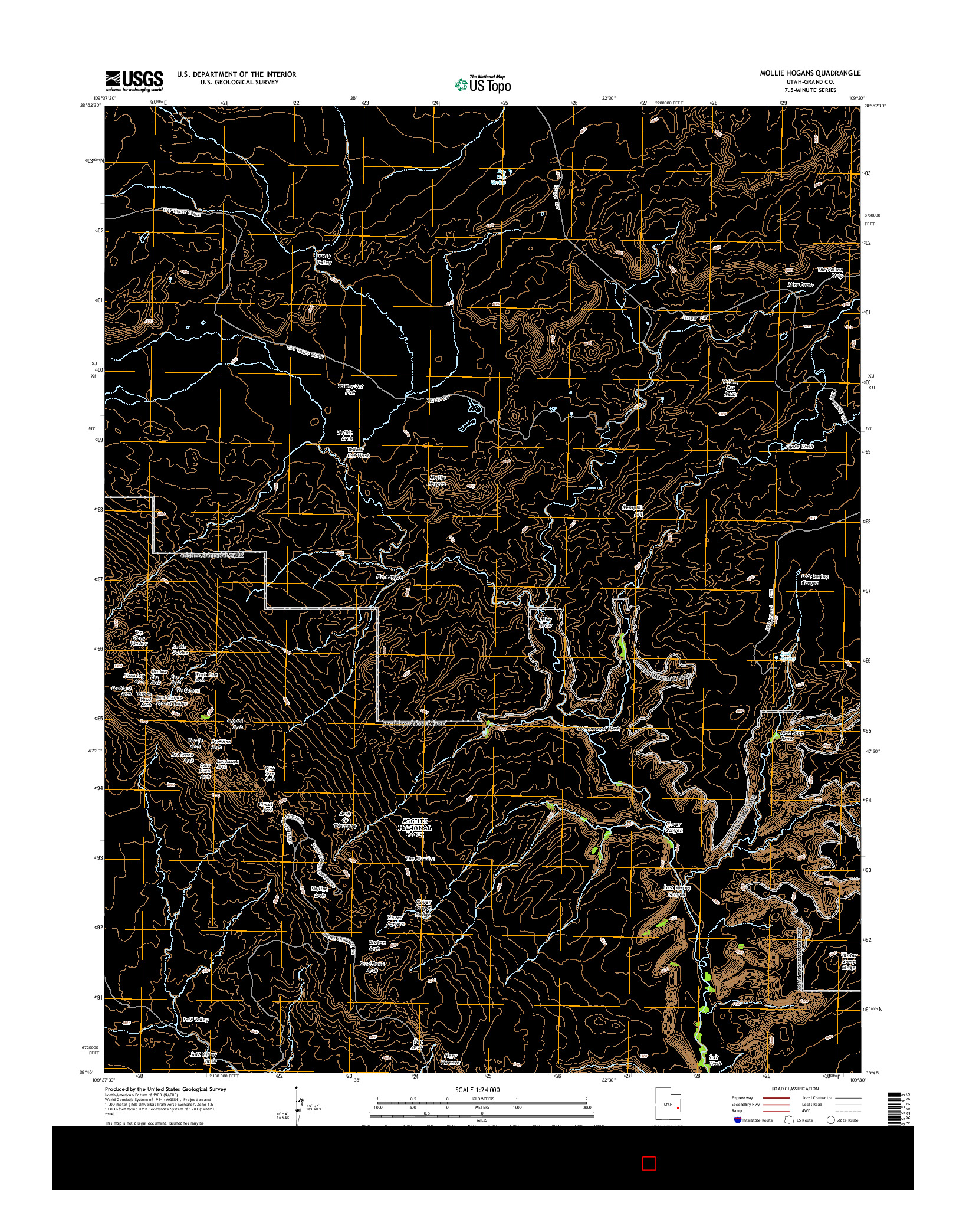 USGS US TOPO 7.5-MINUTE MAP FOR MOLLIE HOGANS, UT 2014