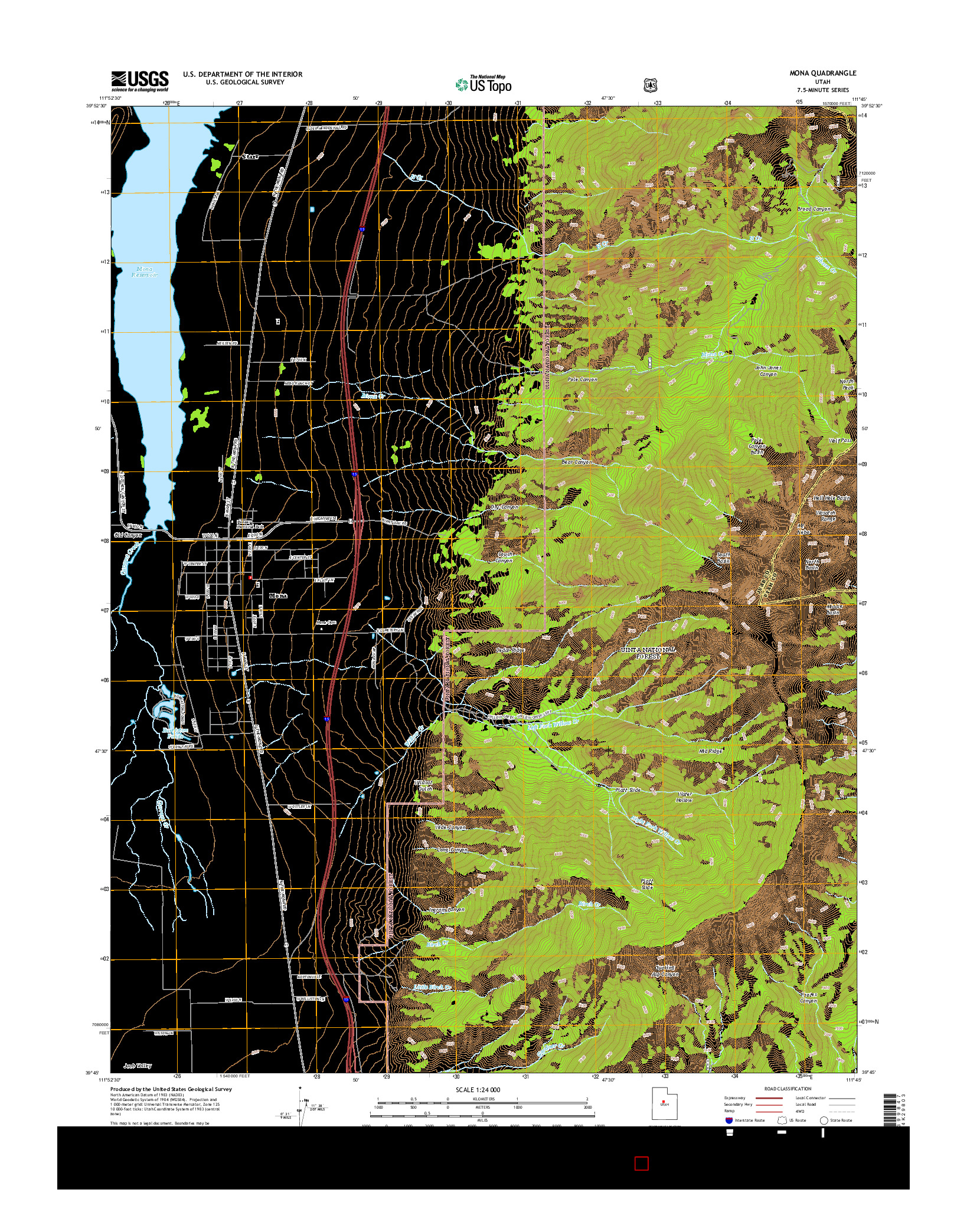 USGS US TOPO 7.5-MINUTE MAP FOR MONA, UT 2014