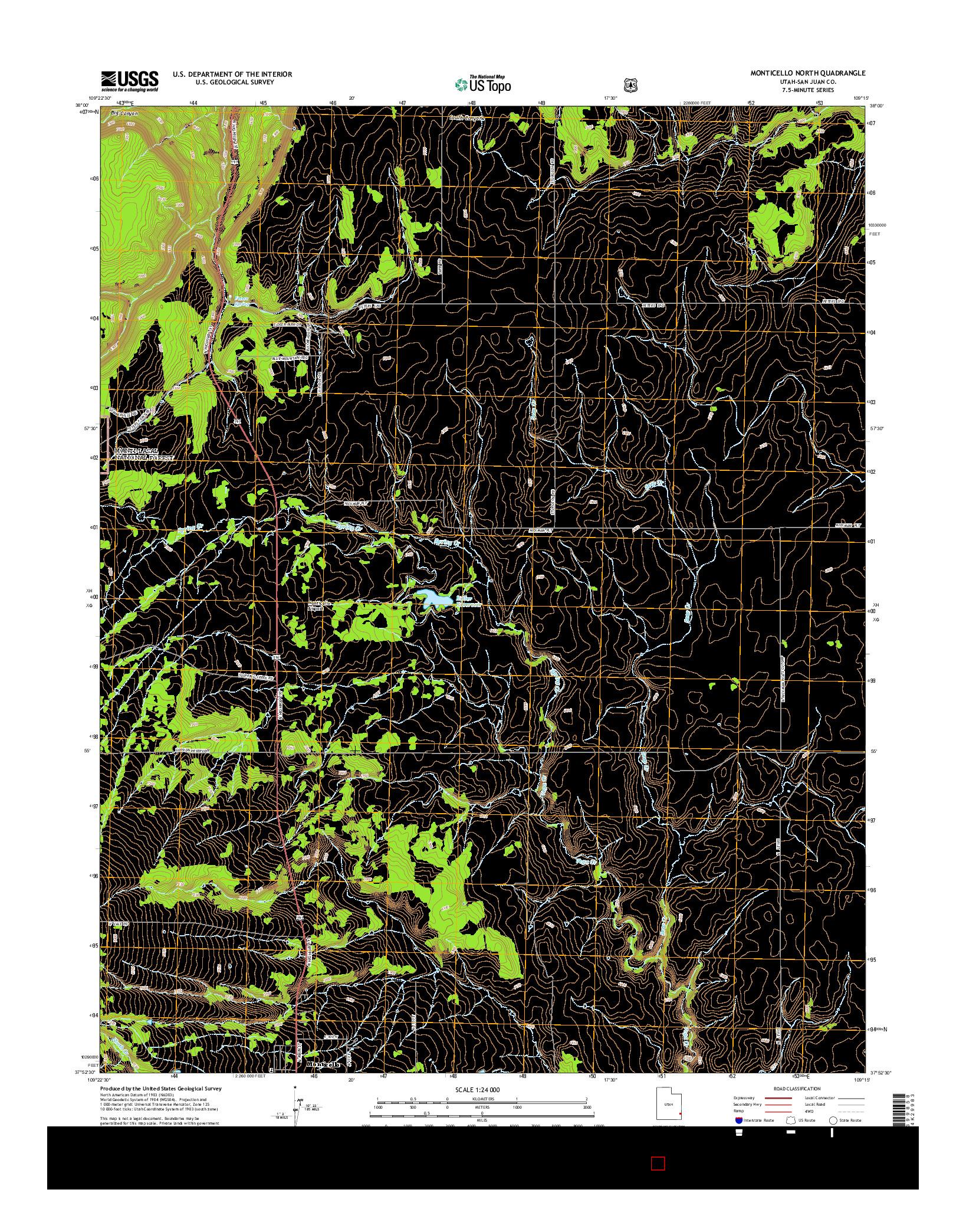 USGS US TOPO 7.5-MINUTE MAP FOR MONTICELLO NORTH, UT 2014