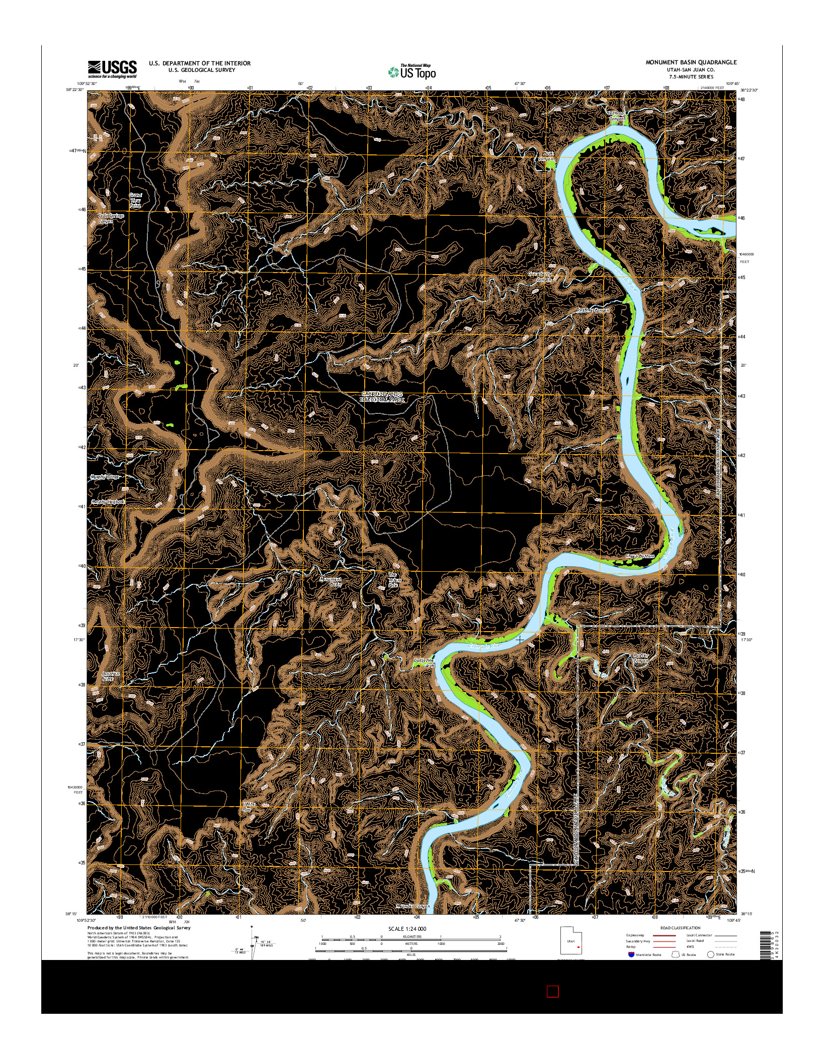 USGS US TOPO 7.5-MINUTE MAP FOR MONUMENT BASIN, UT 2014