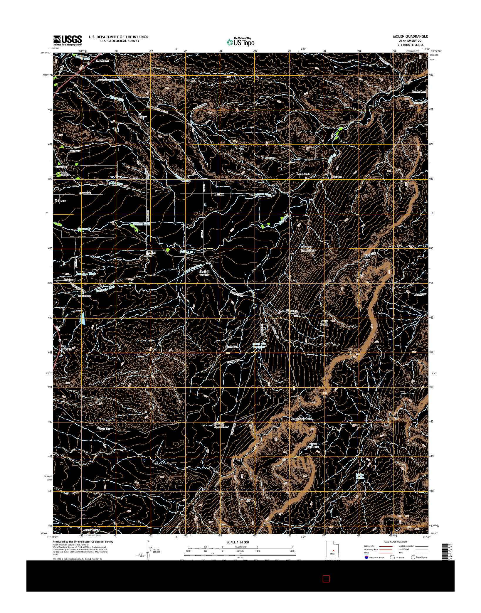 USGS US TOPO 7.5-MINUTE MAP FOR MOLEN, UT 2014