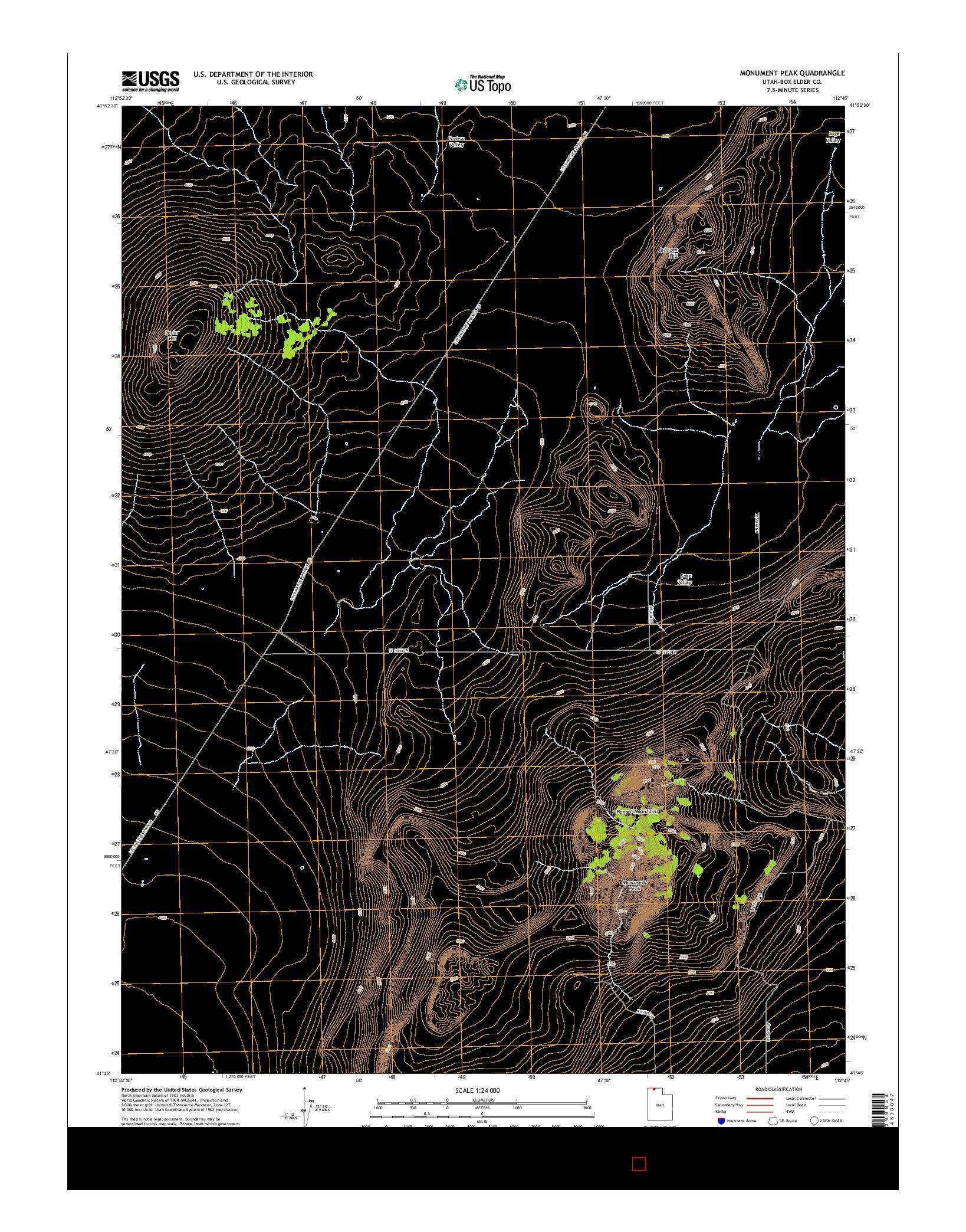 USGS US TOPO 7.5-MINUTE MAP FOR MONUMENT PEAK, UT 2014