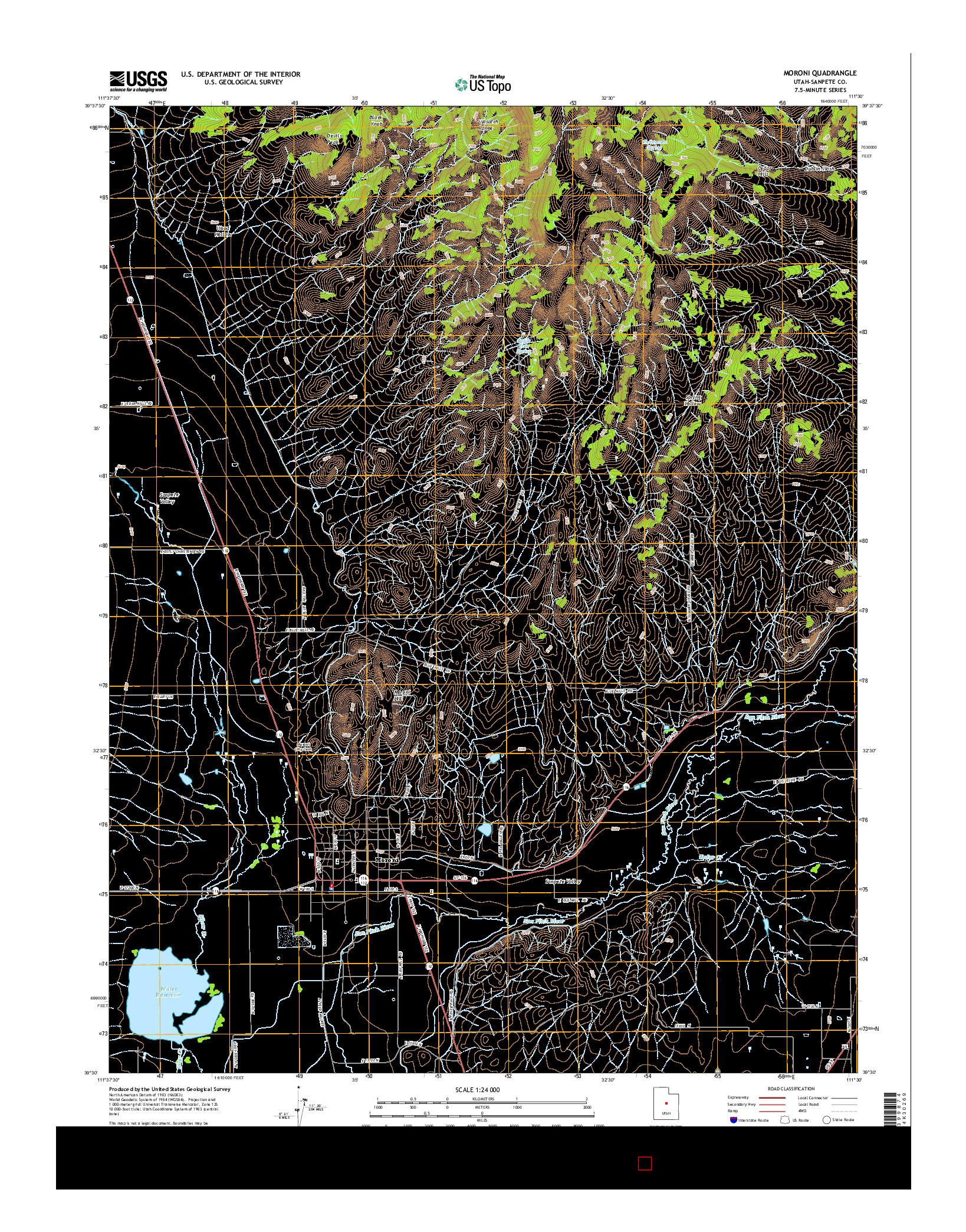 USGS US TOPO 7.5-MINUTE MAP FOR MORONI, UT 2014