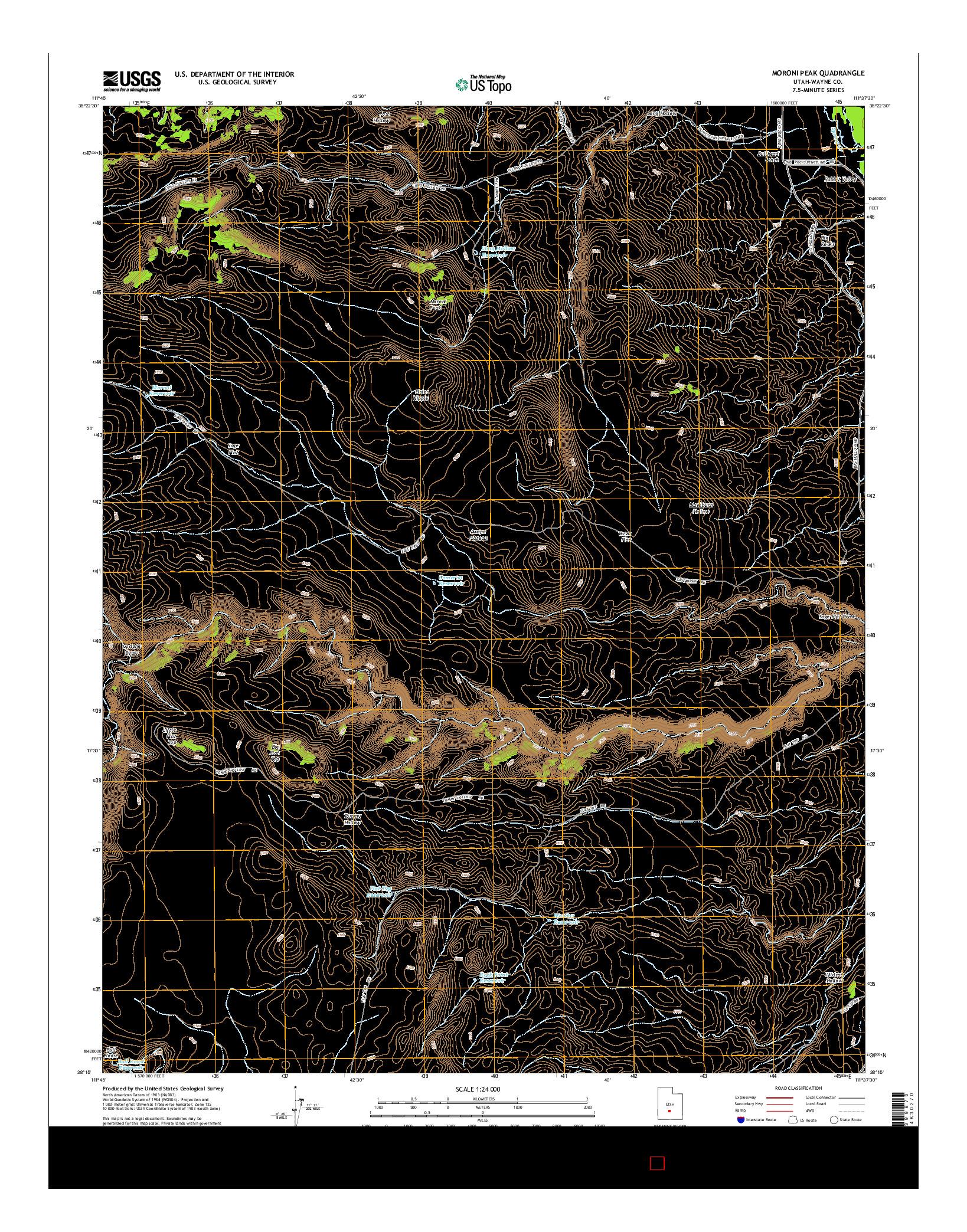 USGS US TOPO 7.5-MINUTE MAP FOR MORONI PEAK, UT 2014