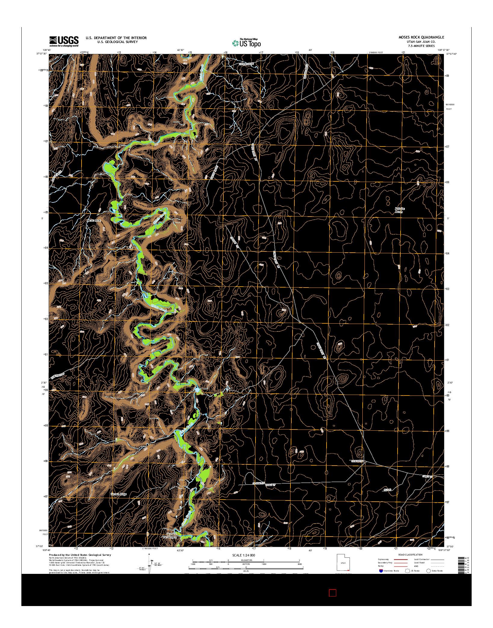 USGS US TOPO 7.5-MINUTE MAP FOR MOSES ROCK, UT 2014