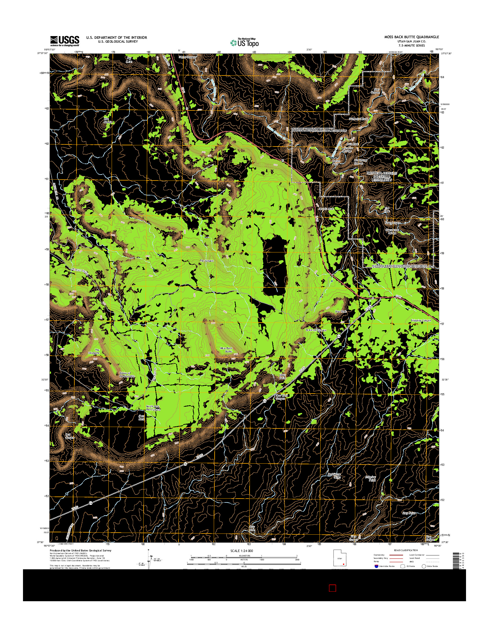 USGS US TOPO 7.5-MINUTE MAP FOR MOSS BACK BUTTE, UT 2014