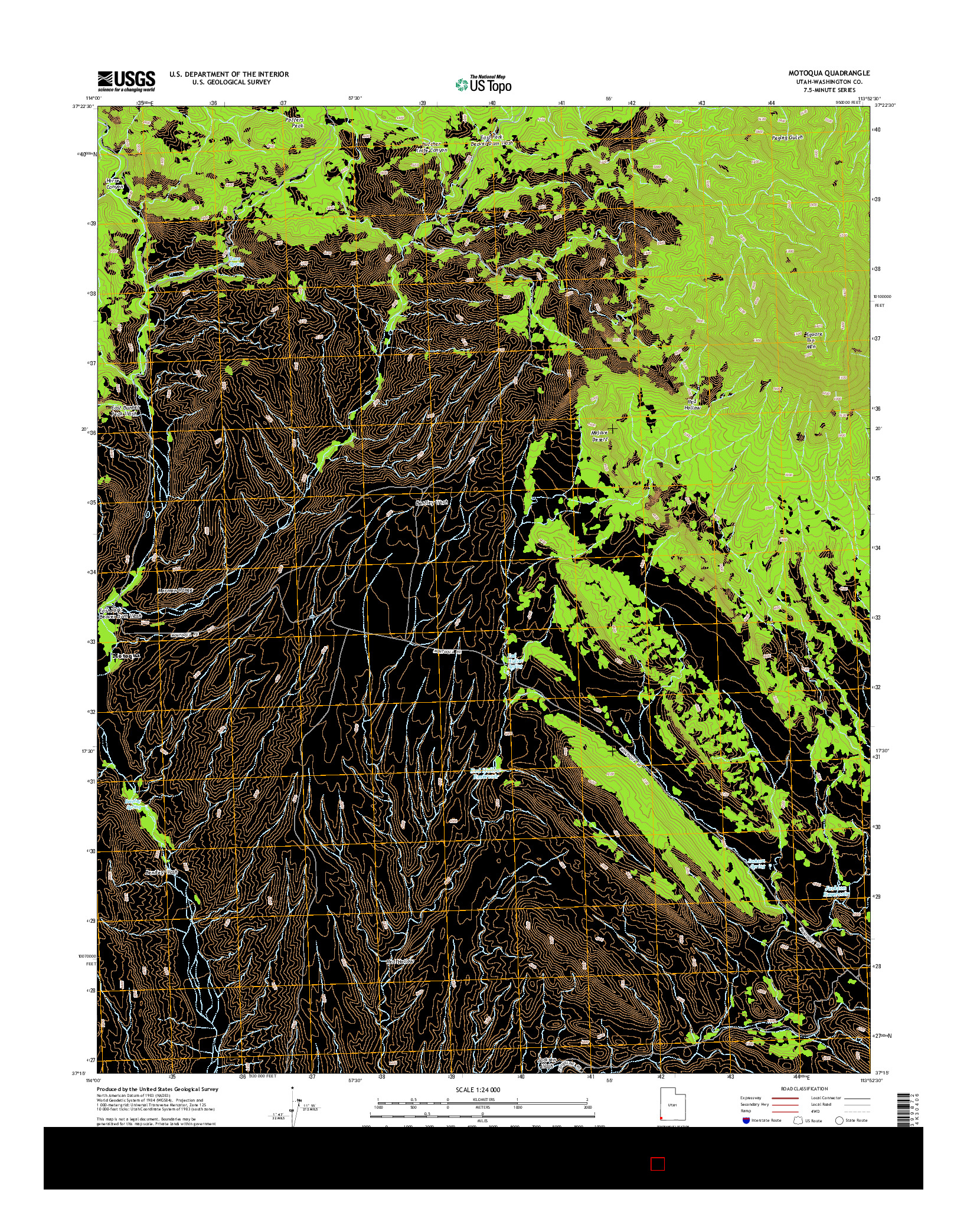 USGS US TOPO 7.5-MINUTE MAP FOR MOTOQUA, UT 2014