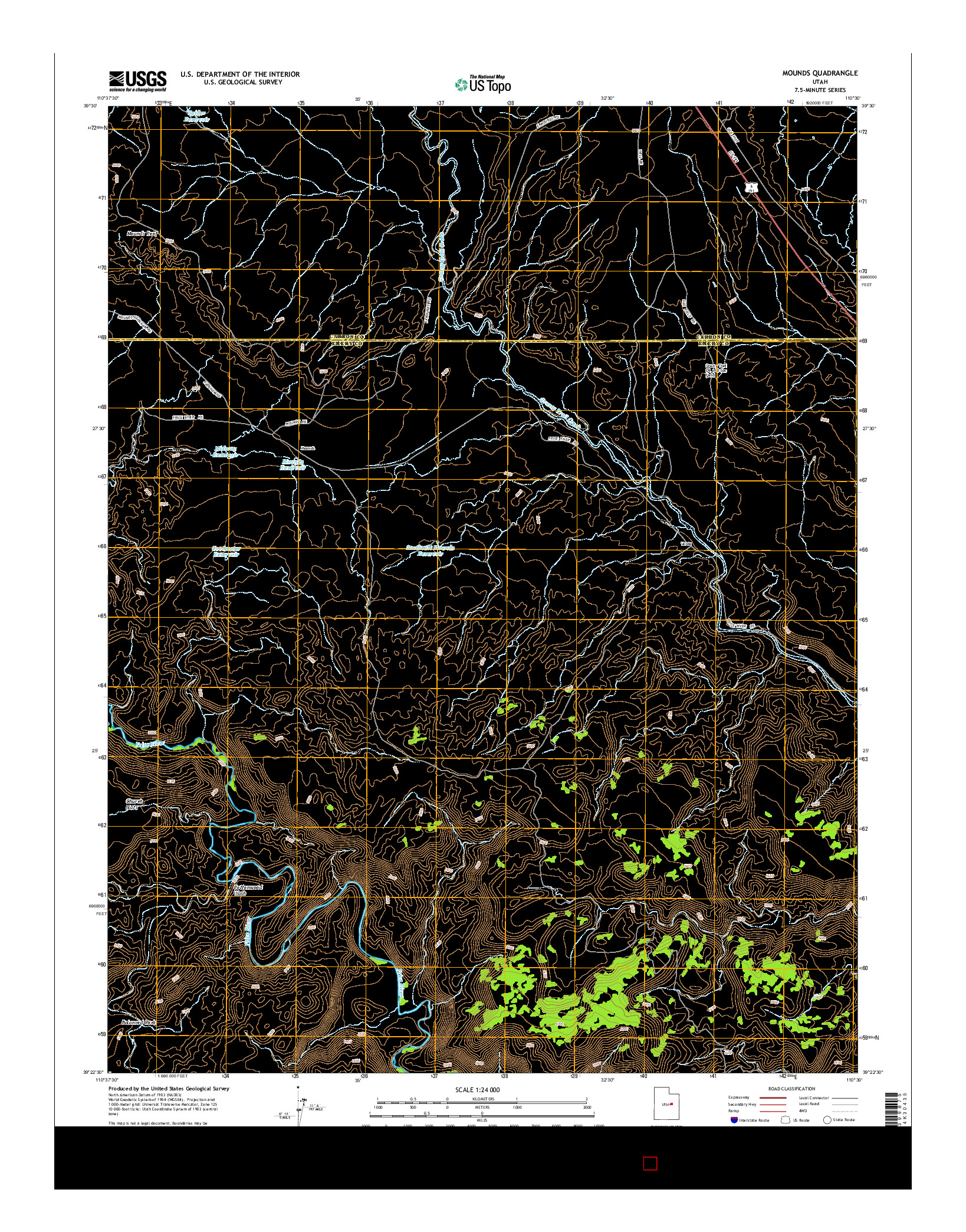 USGS US TOPO 7.5-MINUTE MAP FOR MOUNDS, UT 2014