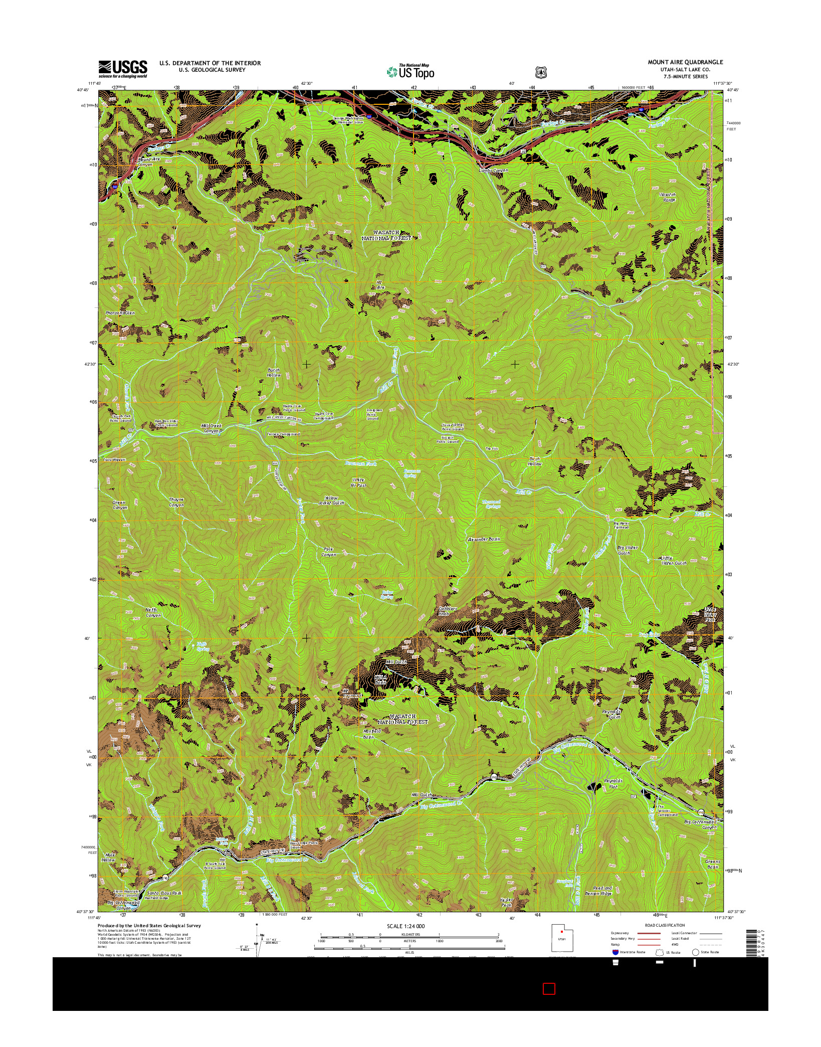 USGS US TOPO 7.5-MINUTE MAP FOR MOUNT AIRE, UT 2014