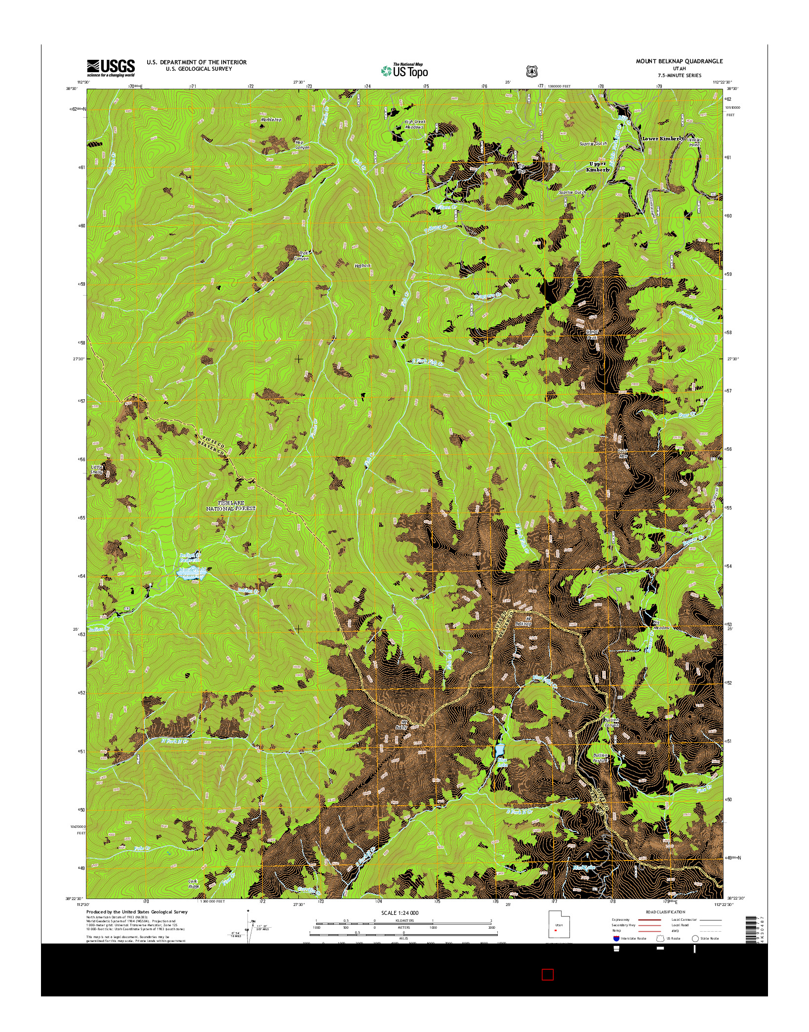 USGS US TOPO 7.5-MINUTE MAP FOR MOUNT BELKNAP, UT 2014