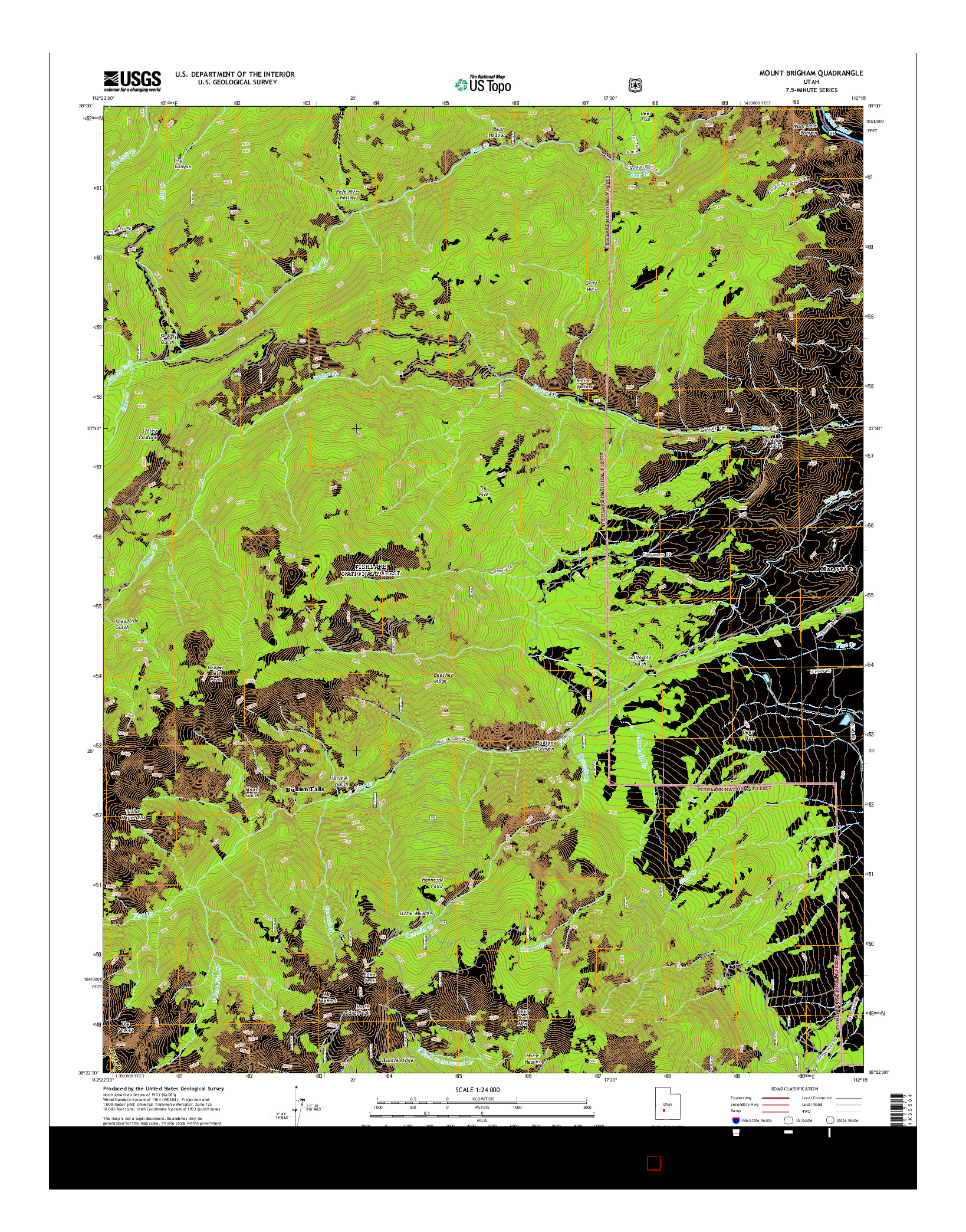 USGS US TOPO 7.5-MINUTE MAP FOR MOUNT BRIGHAM, UT 2014