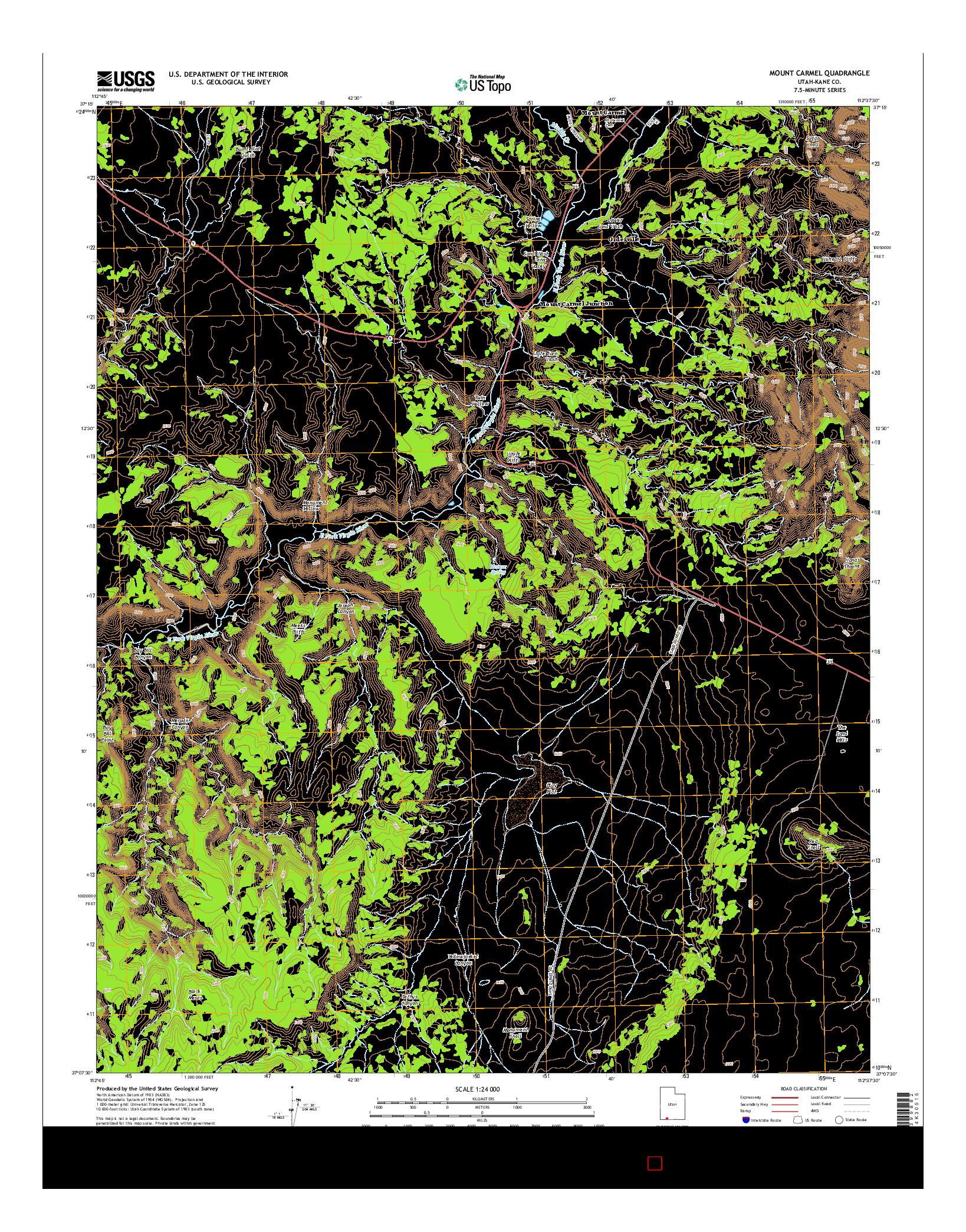 USGS US TOPO 7.5-MINUTE MAP FOR MOUNT CARMEL, UT 2014