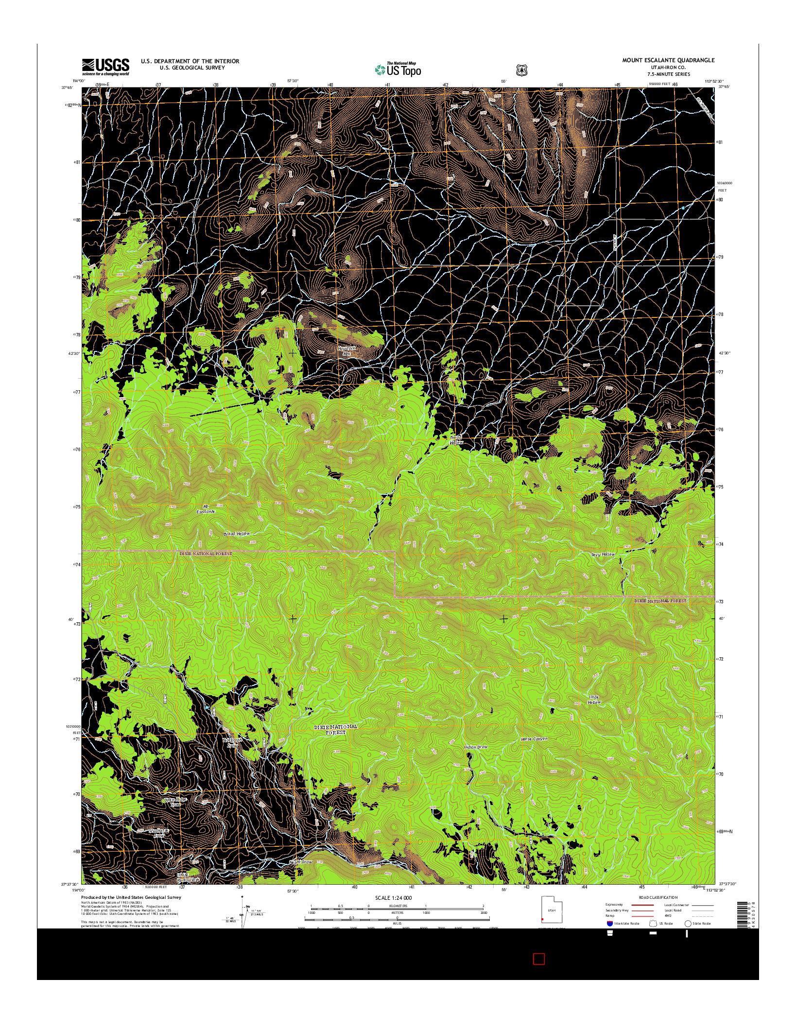 USGS US TOPO 7.5-MINUTE MAP FOR MOUNT ESCALANTE, UT 2014