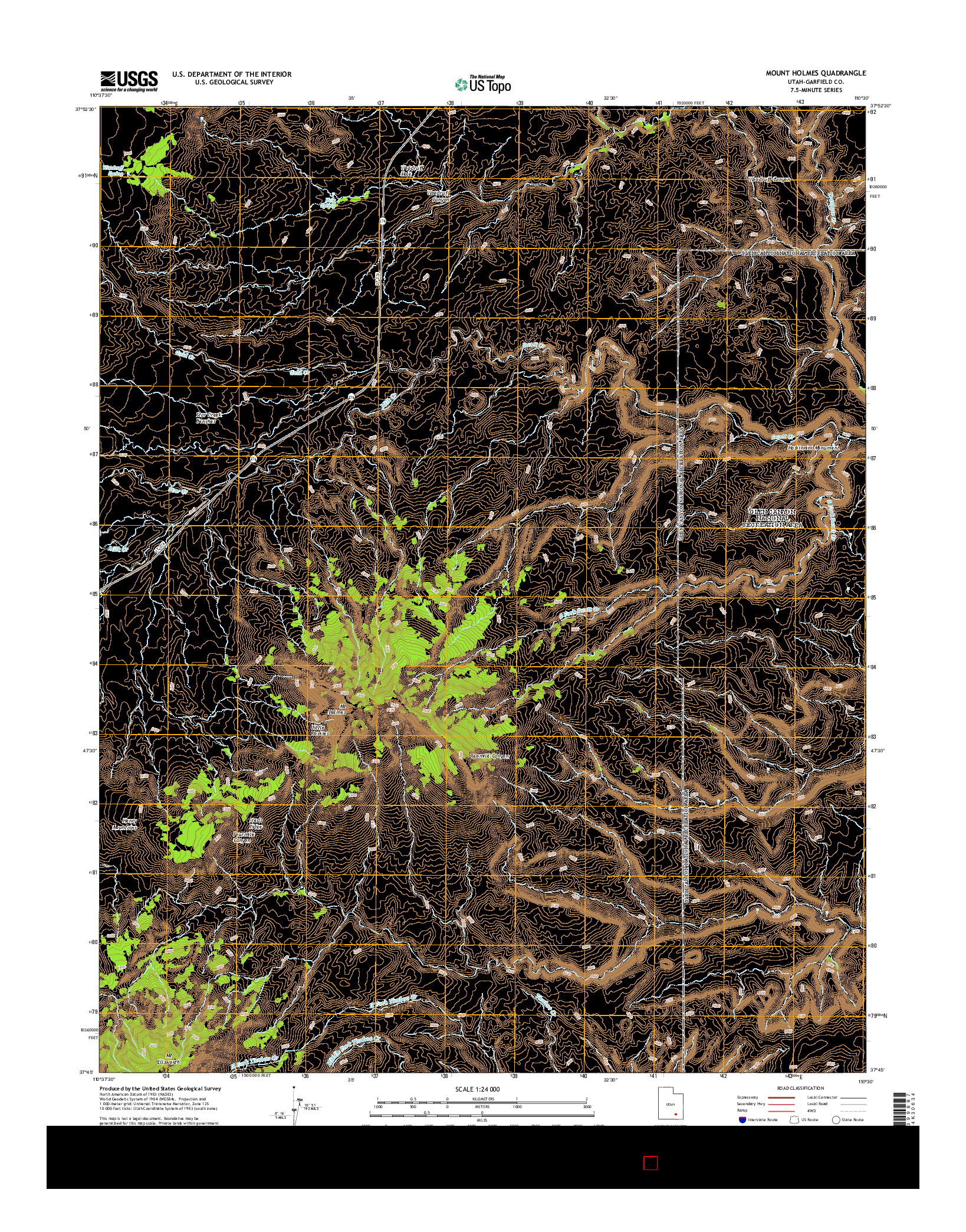 USGS US TOPO 7.5-MINUTE MAP FOR MOUNT HOLMES, UT 2014