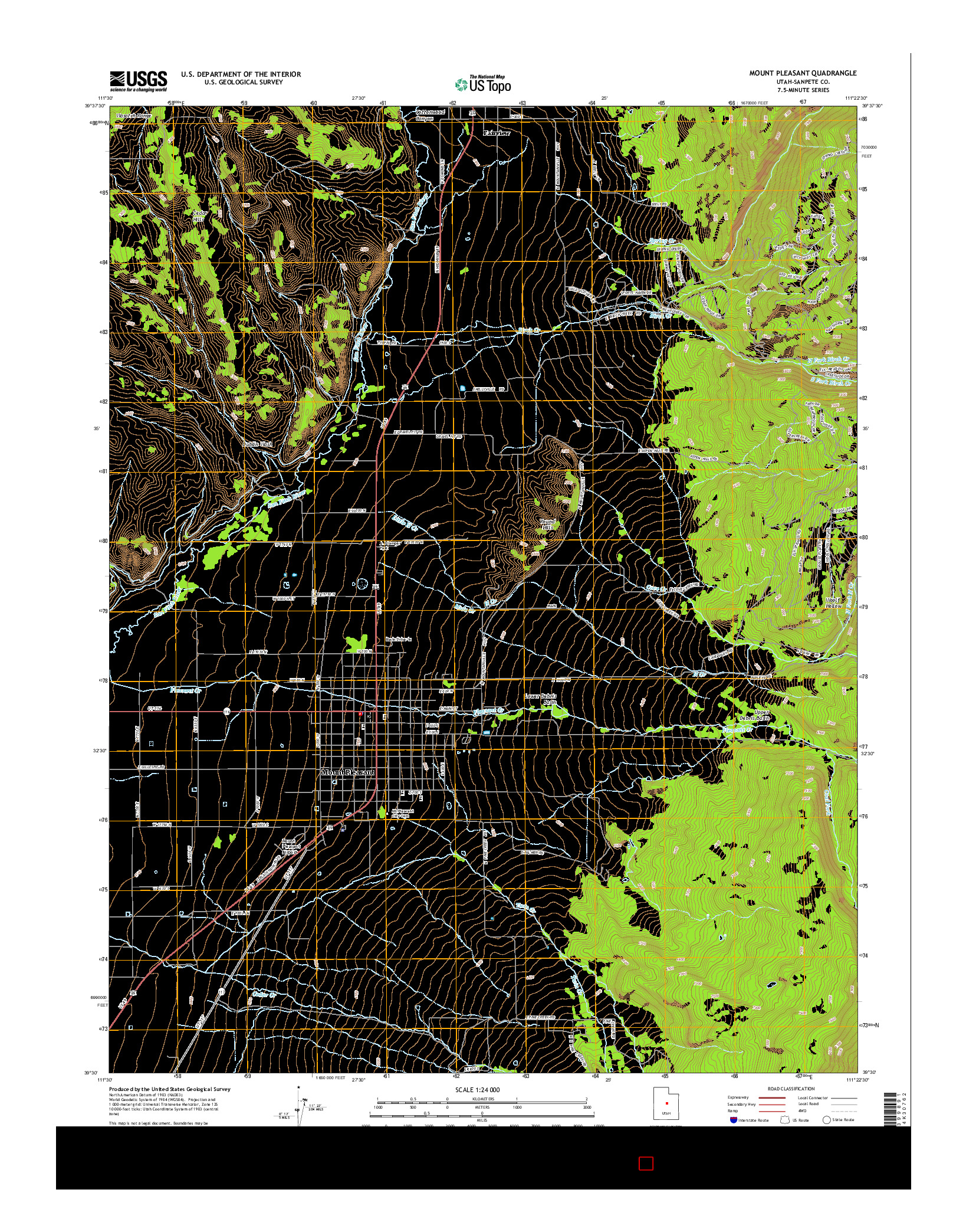 USGS US TOPO 7.5-MINUTE MAP FOR MOUNT PLEASANT, UT 2014