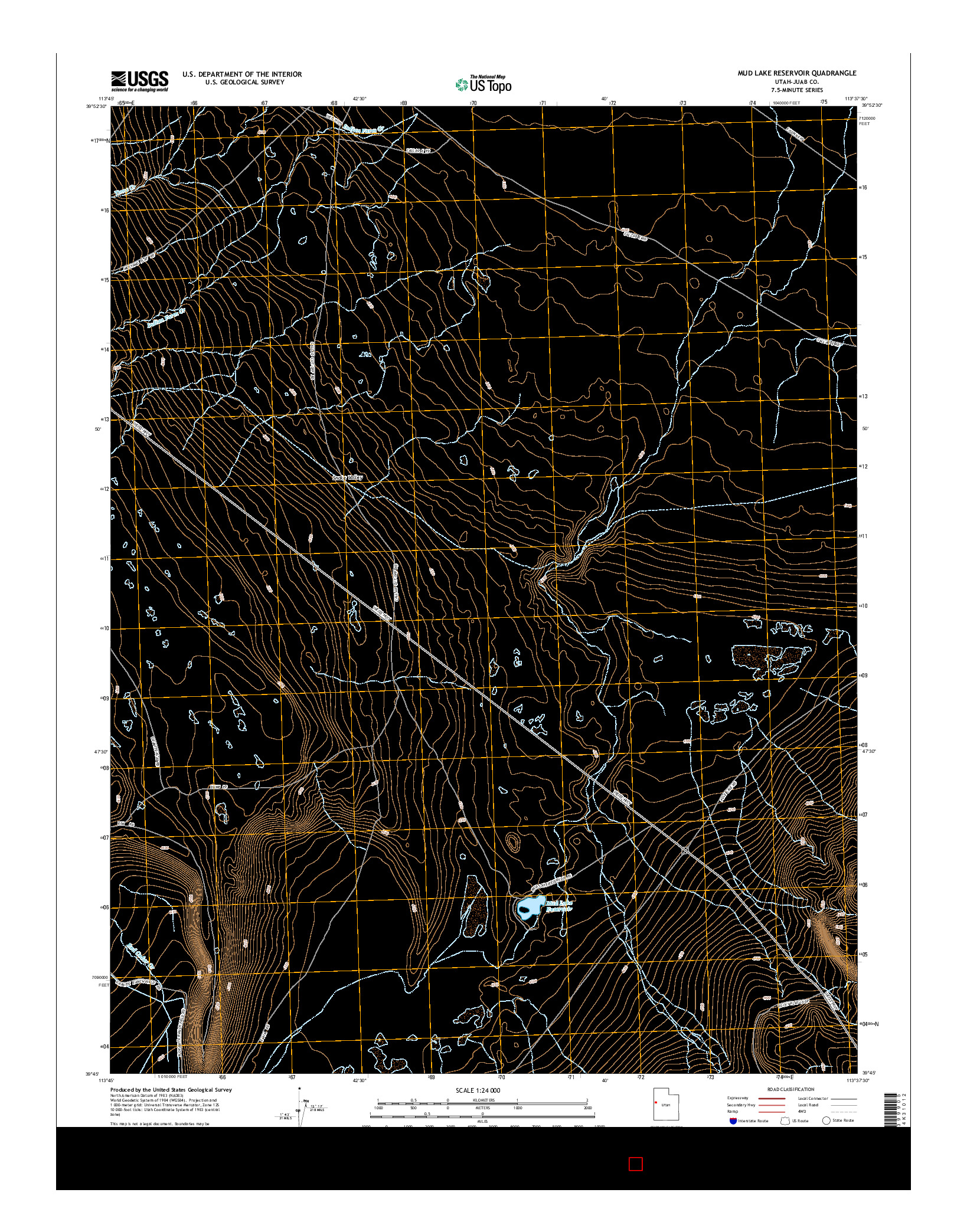 USGS US TOPO 7.5-MINUTE MAP FOR MUD LAKE RESERVOIR, UT 2014