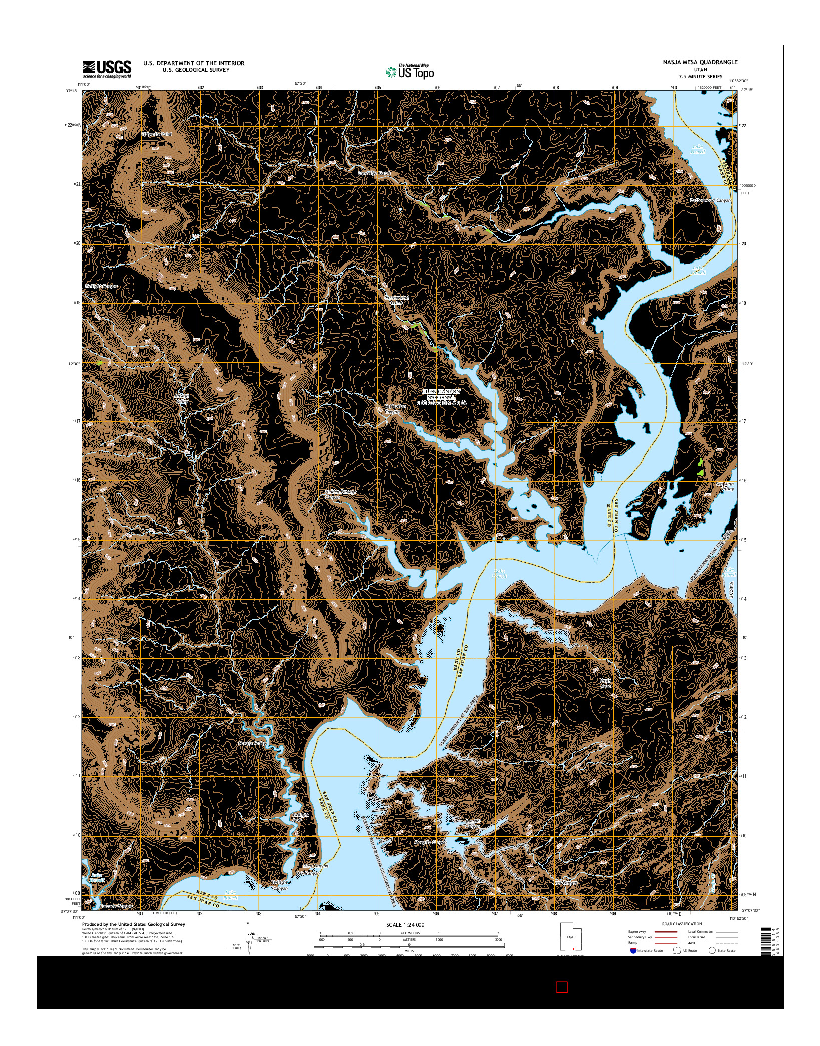 USGS US TOPO 7.5-MINUTE MAP FOR NASJA MESA, UT 2014
