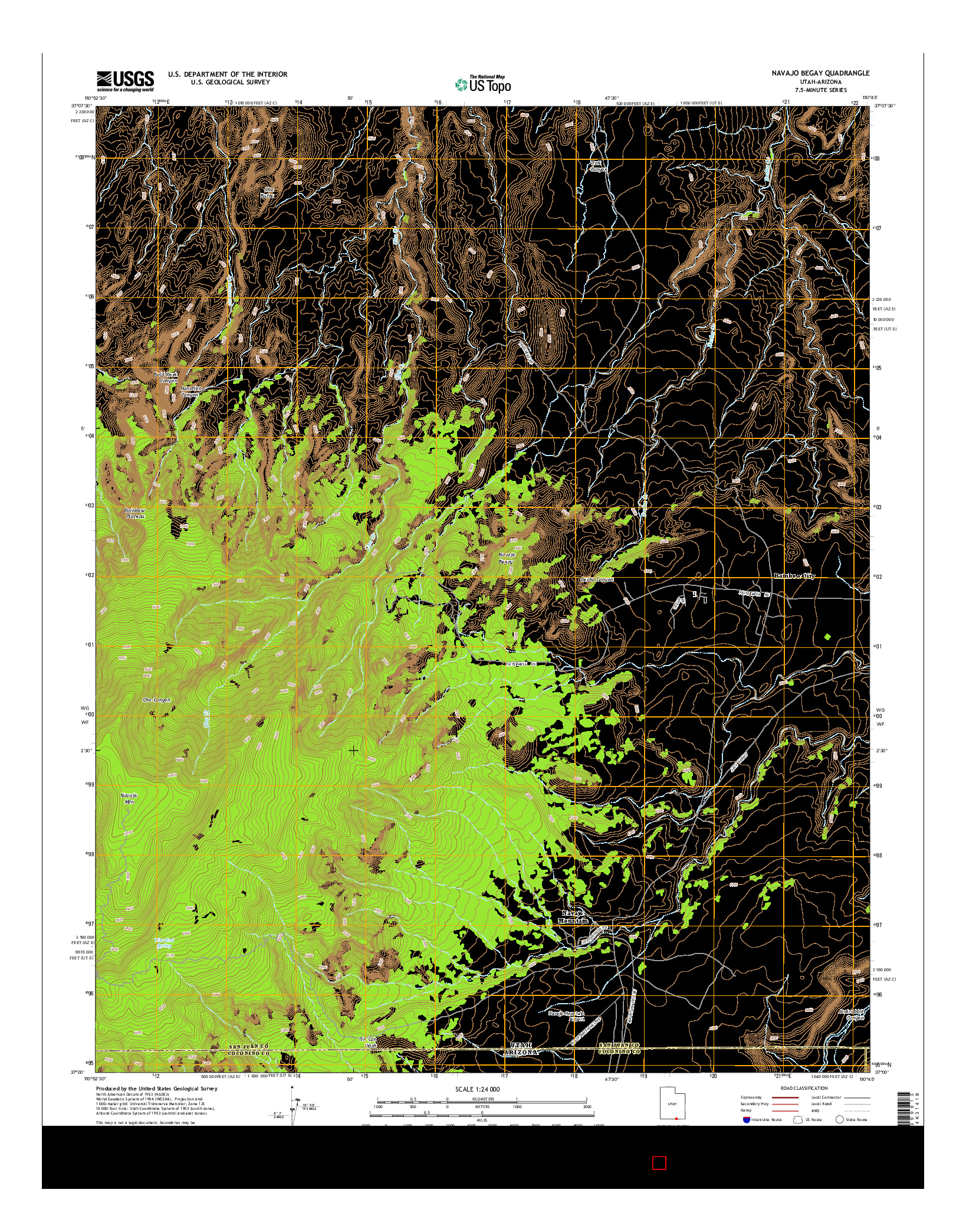 USGS US TOPO 7.5-MINUTE MAP FOR NAVAJO BEGAY, UT-AZ 2014