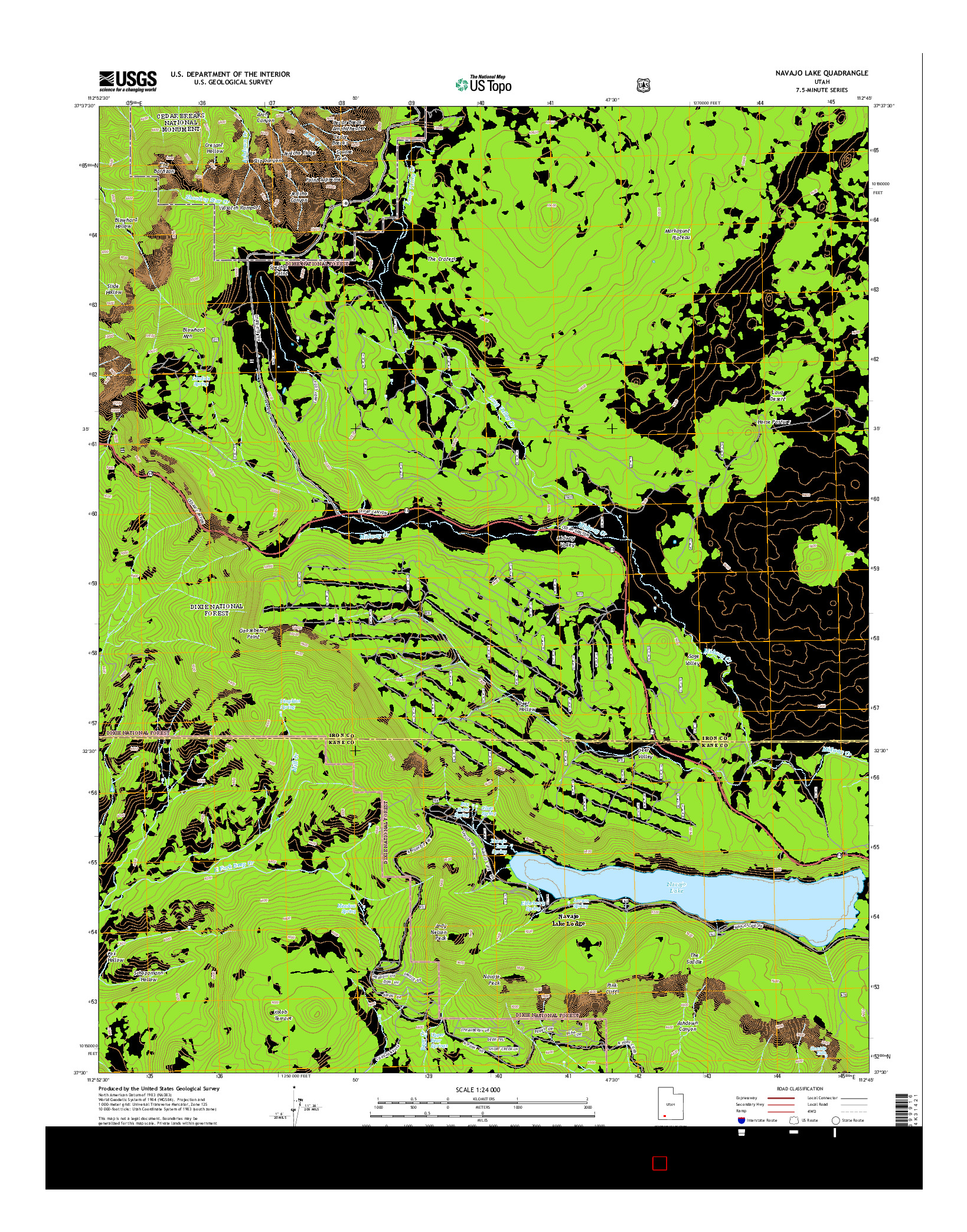 USGS US TOPO 7.5-MINUTE MAP FOR NAVAJO LAKE, UT 2014
