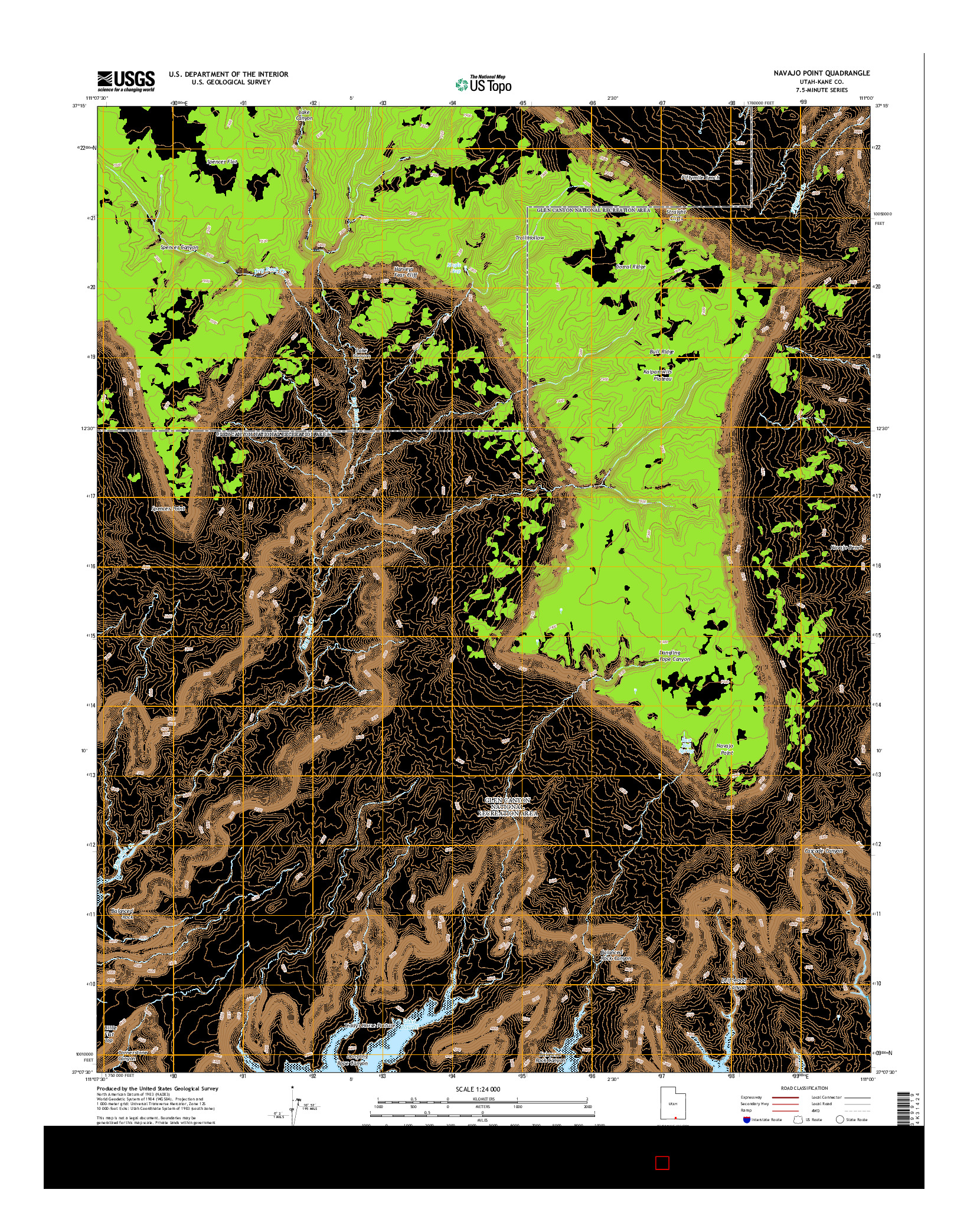 USGS US TOPO 7.5-MINUTE MAP FOR NAVAJO POINT, UT 2014