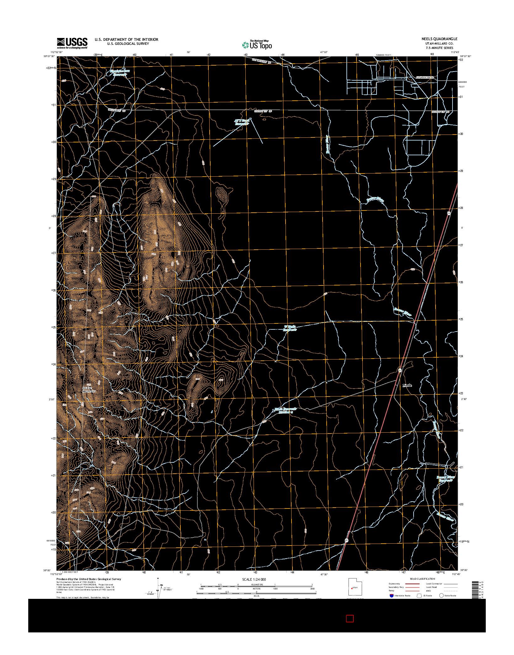 USGS US TOPO 7.5-MINUTE MAP FOR NEELS, UT 2014