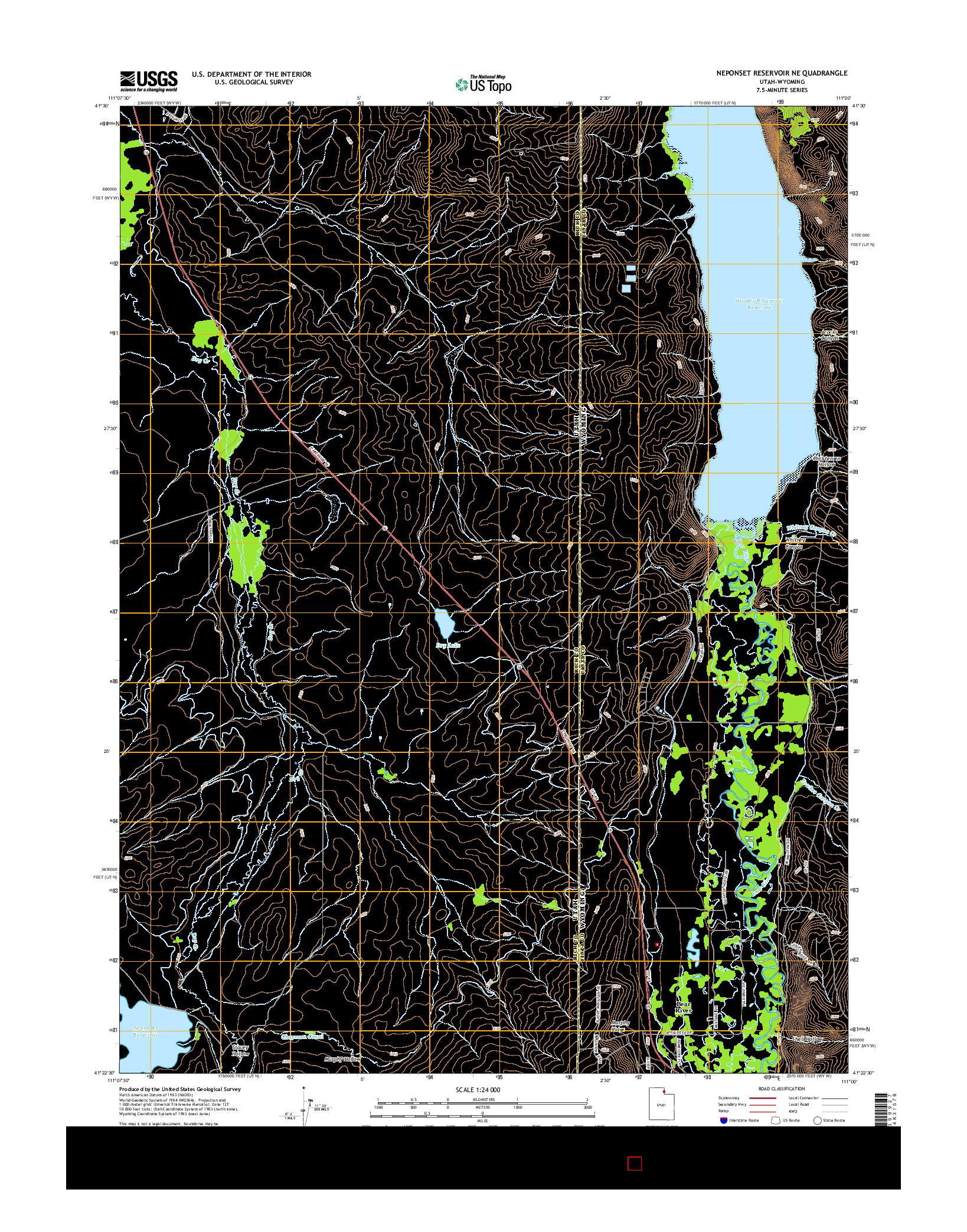 USGS US TOPO 7.5-MINUTE MAP FOR NEPONSET RESERVOIR NE, UT-WY 2014
