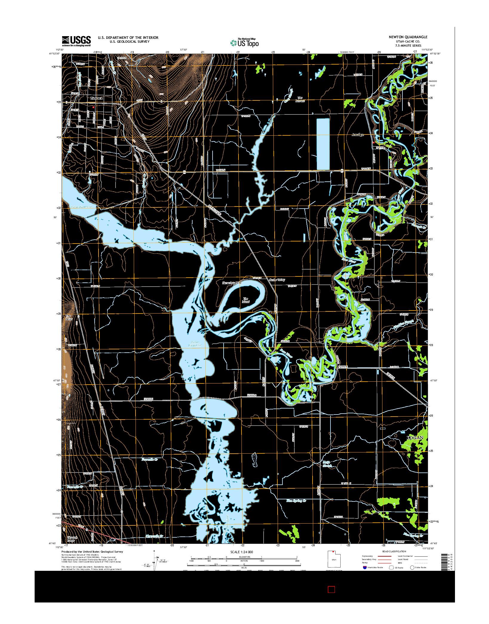 USGS US TOPO 7.5-MINUTE MAP FOR NEWTON, UT 2014