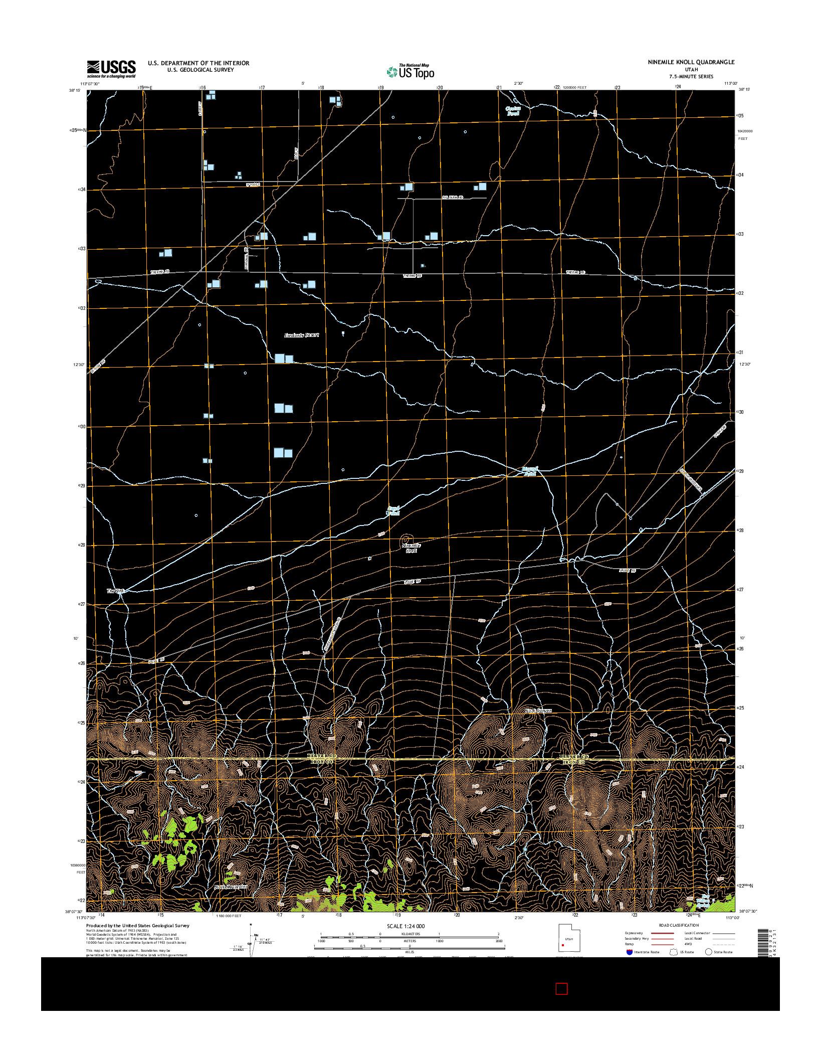 USGS US TOPO 7.5-MINUTE MAP FOR NINEMILE KNOLL, UT 2014