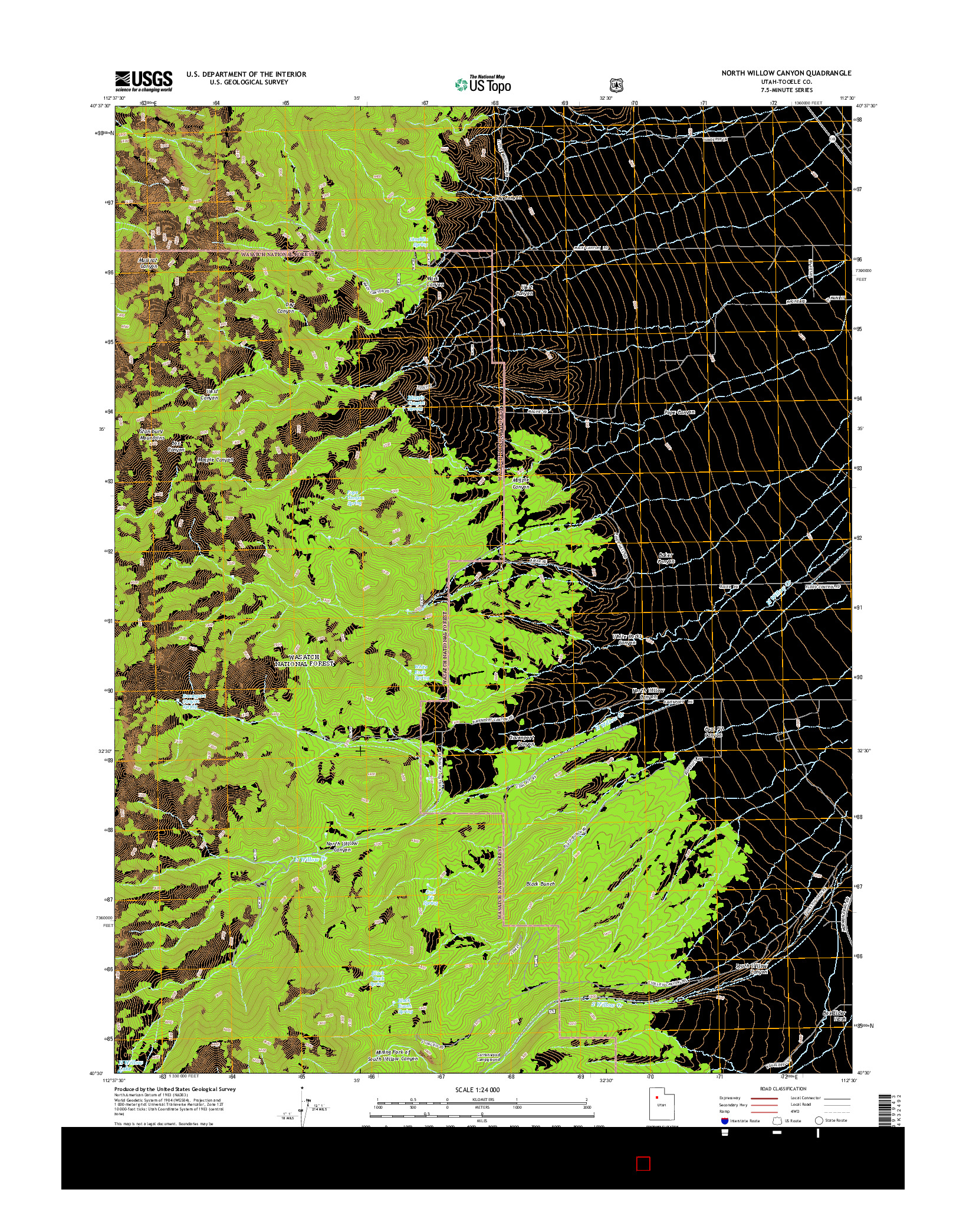 USGS US TOPO 7.5-MINUTE MAP FOR NORTH WILLOW CANYON, UT 2014
