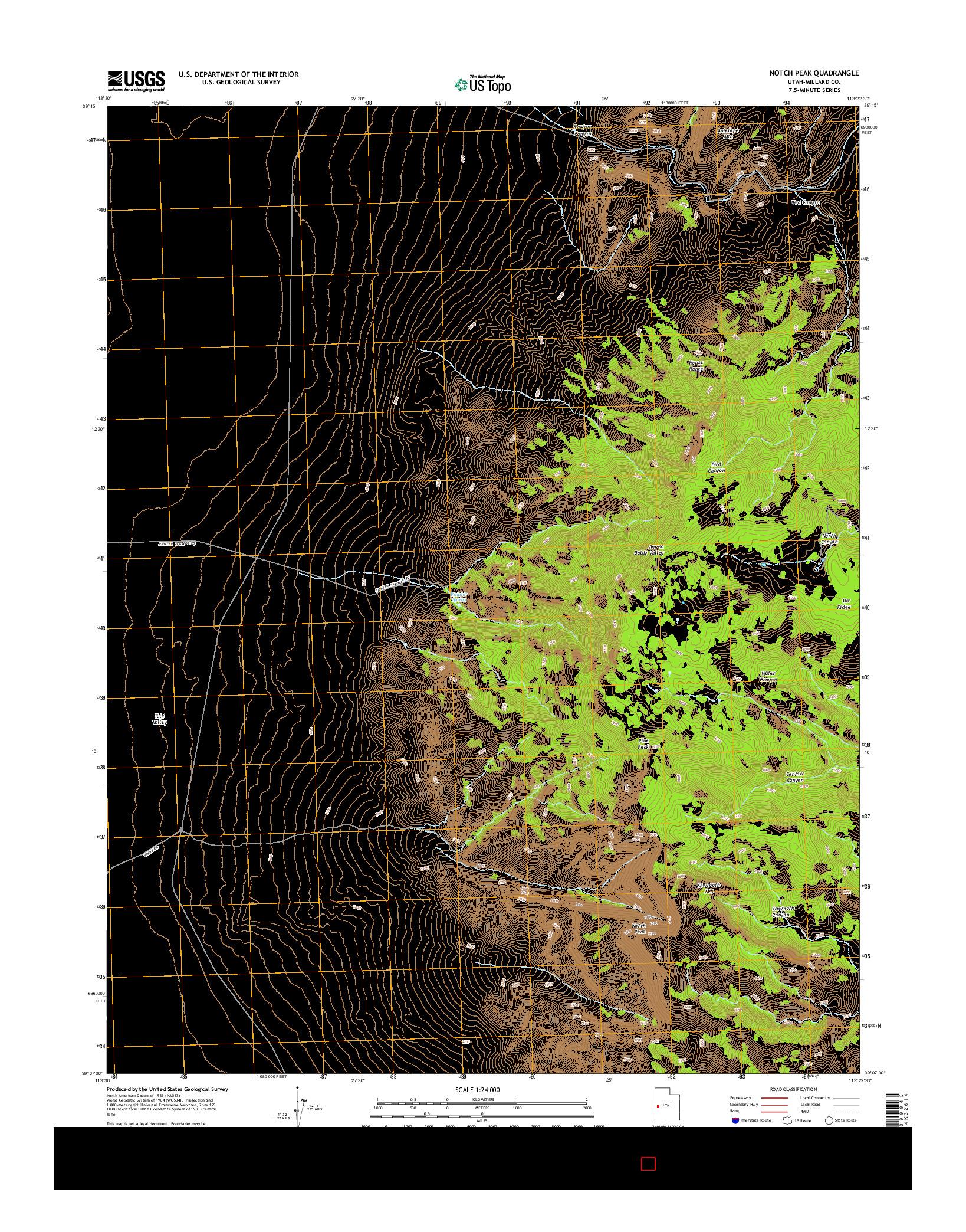 USGS US TOPO 7.5-MINUTE MAP FOR NOTCH PEAK, UT 2014