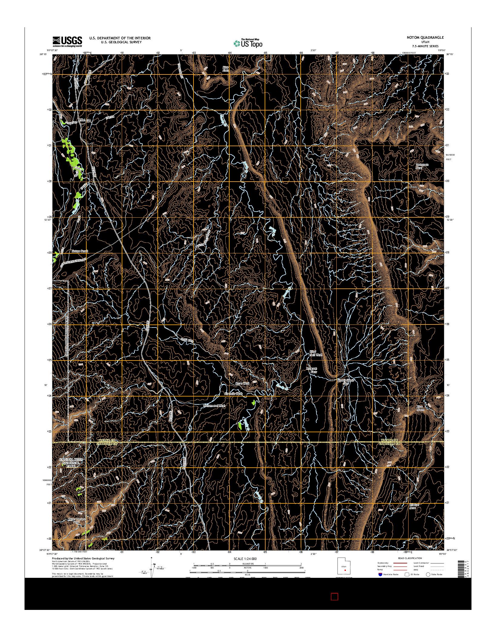 USGS US TOPO 7.5-MINUTE MAP FOR NOTOM, UT 2014