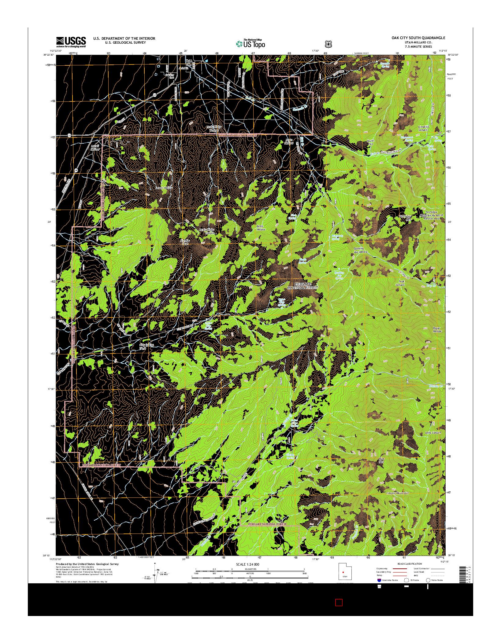 USGS US TOPO 7.5-MINUTE MAP FOR OAK CITY SOUTH, UT 2014
