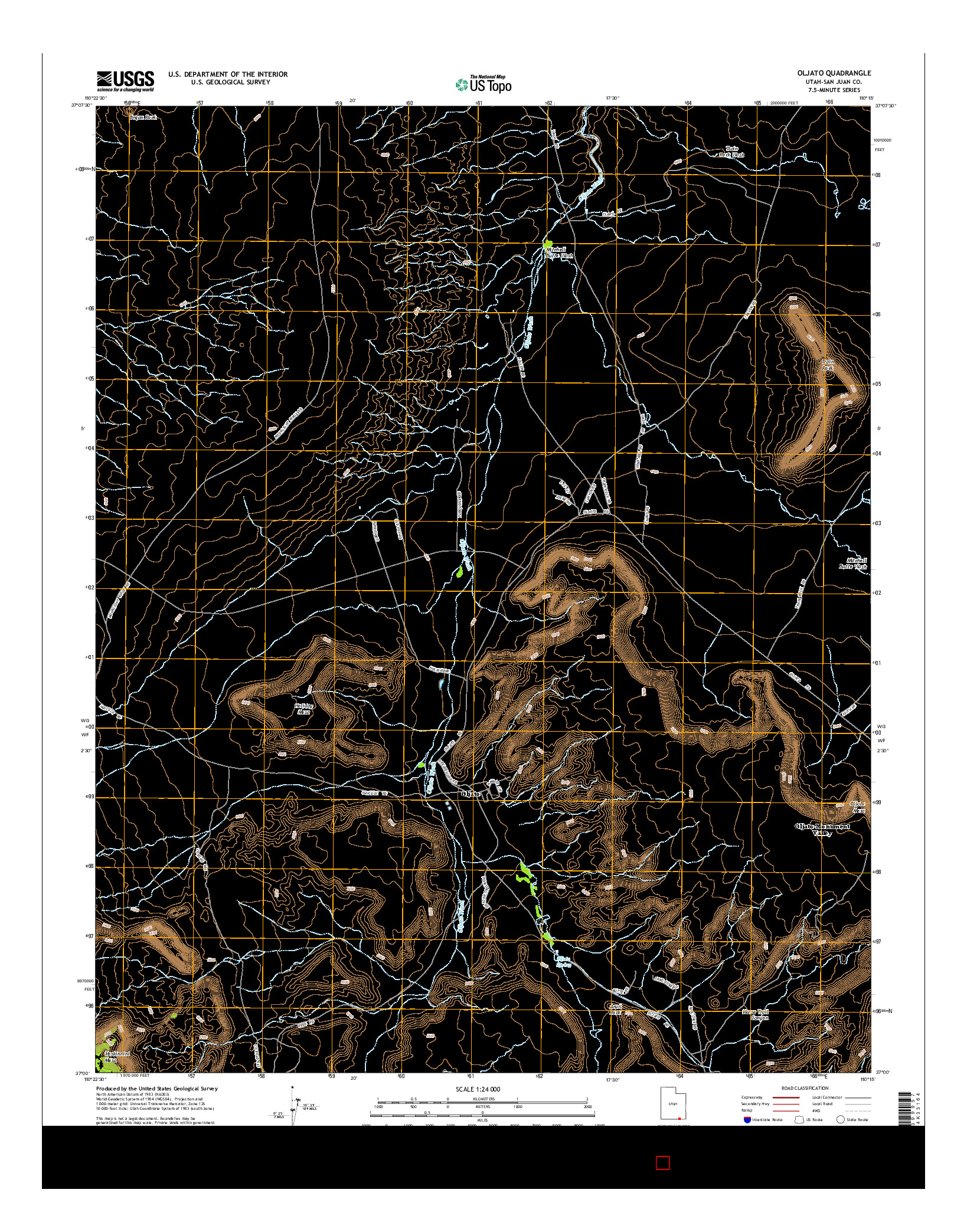 USGS US TOPO 7.5-MINUTE MAP FOR OLJATO, UT 2014