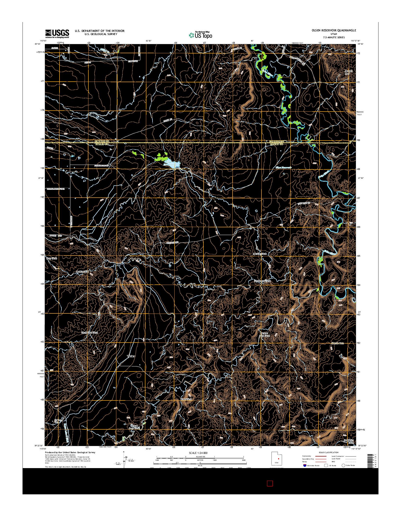 USGS US TOPO 7.5-MINUTE MAP FOR OLSEN RESERVOIR, UT 2014