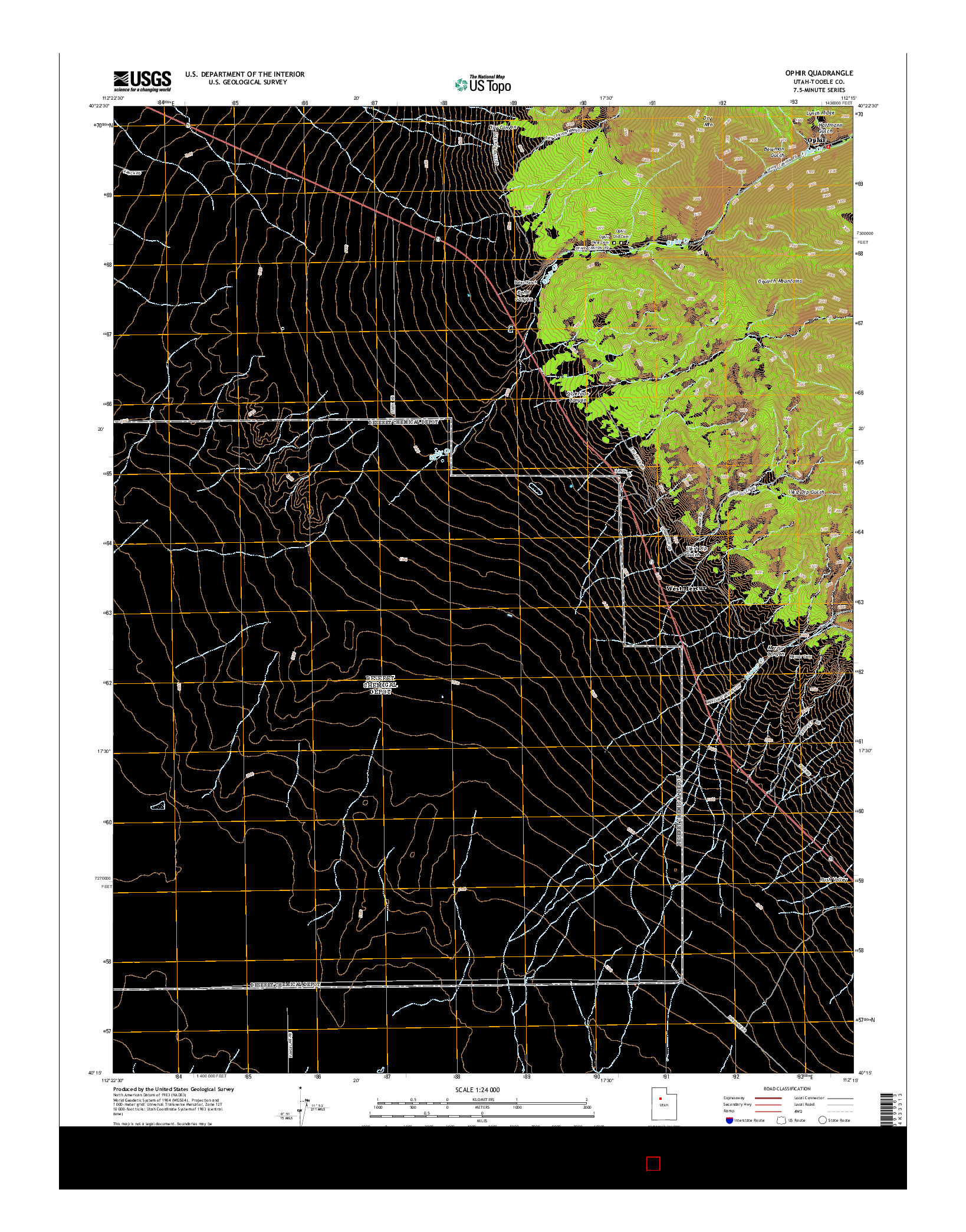 USGS US TOPO 7.5-MINUTE MAP FOR OPHIR, UT 2014