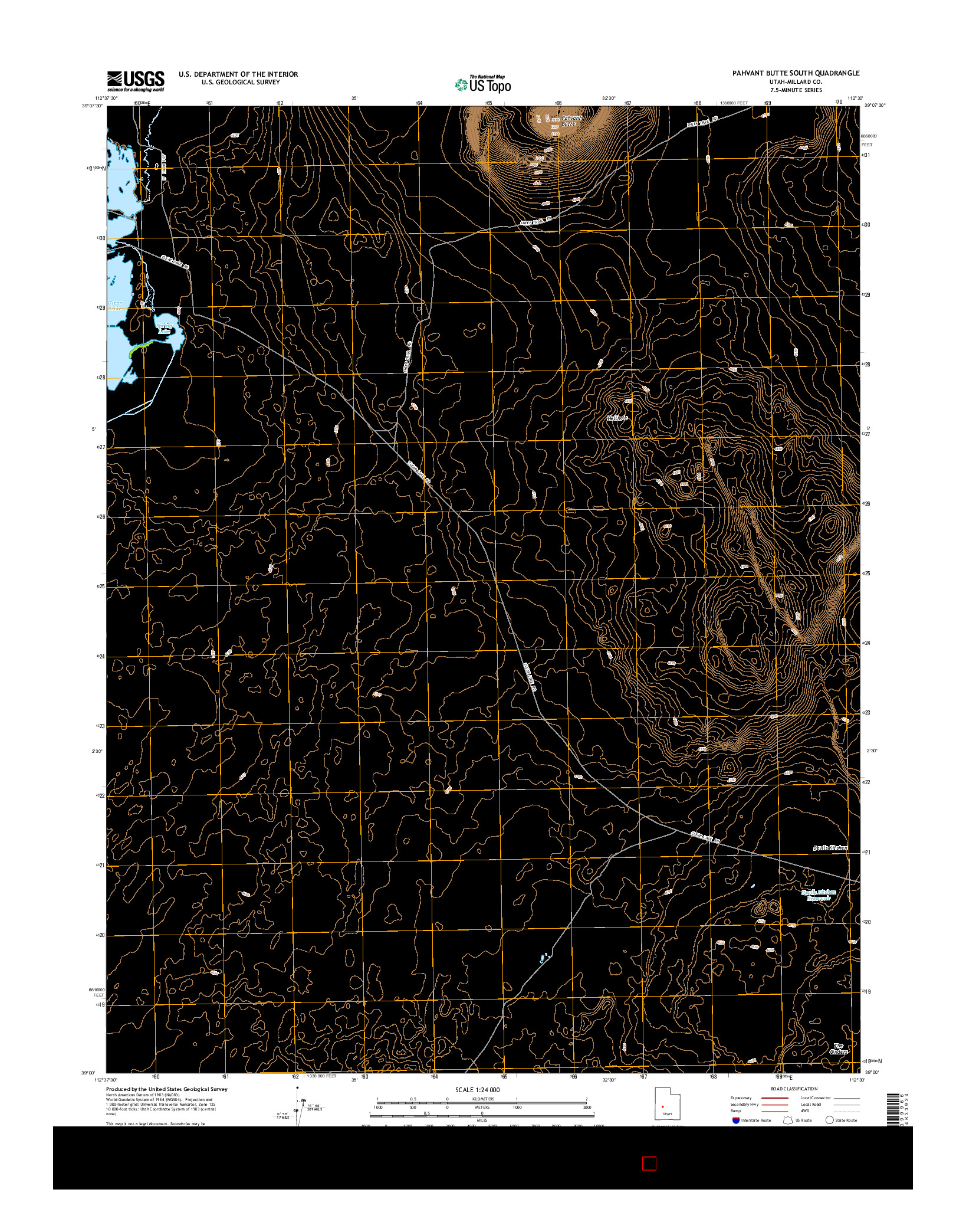 USGS US TOPO 7.5-MINUTE MAP FOR PAHVANT BUTTE SOUTH, UT 2014