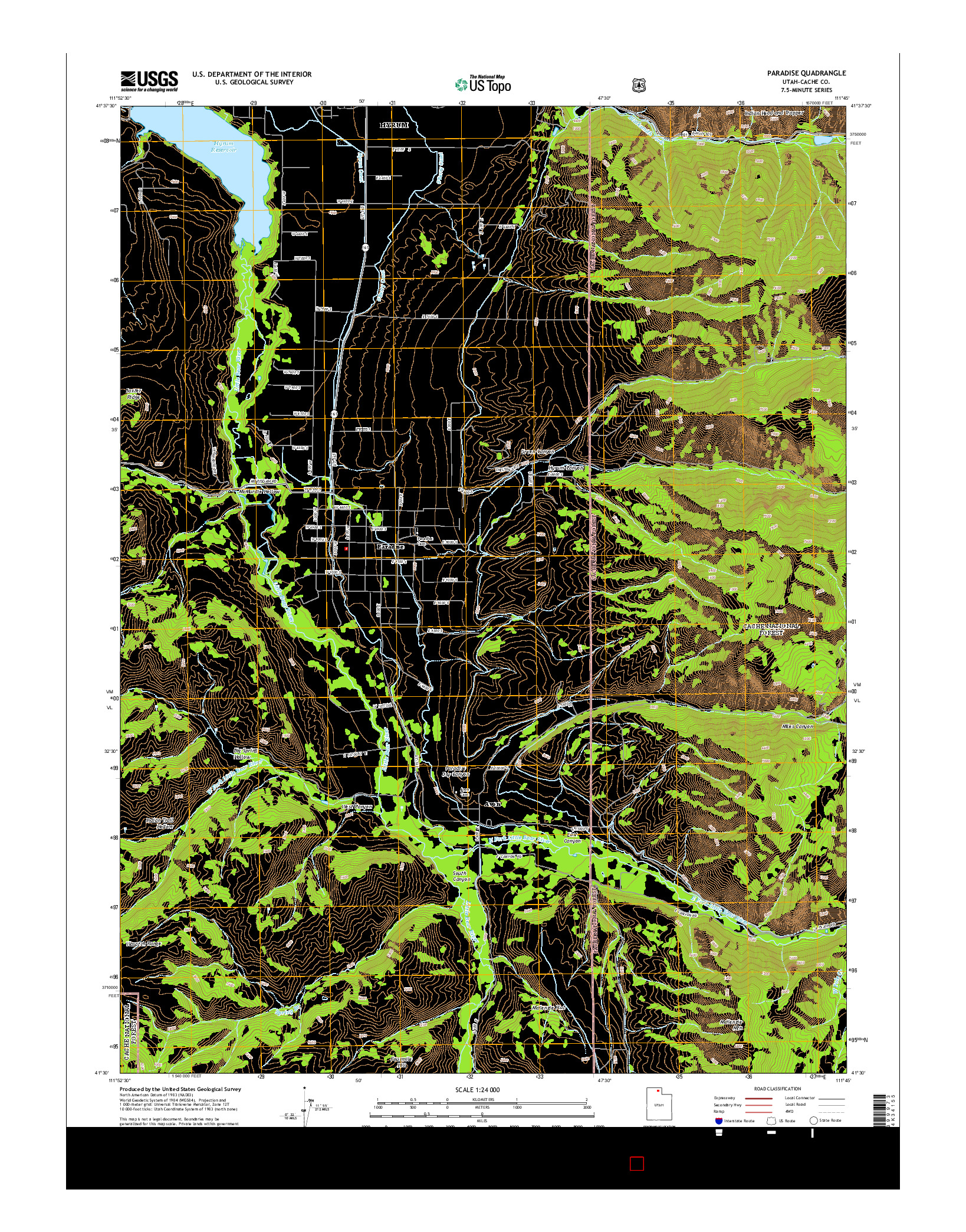 USGS US TOPO 7.5-MINUTE MAP FOR PARADISE, UT 2014